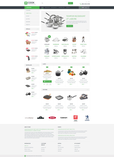 Kitchen Supplies Store OpenCart Template