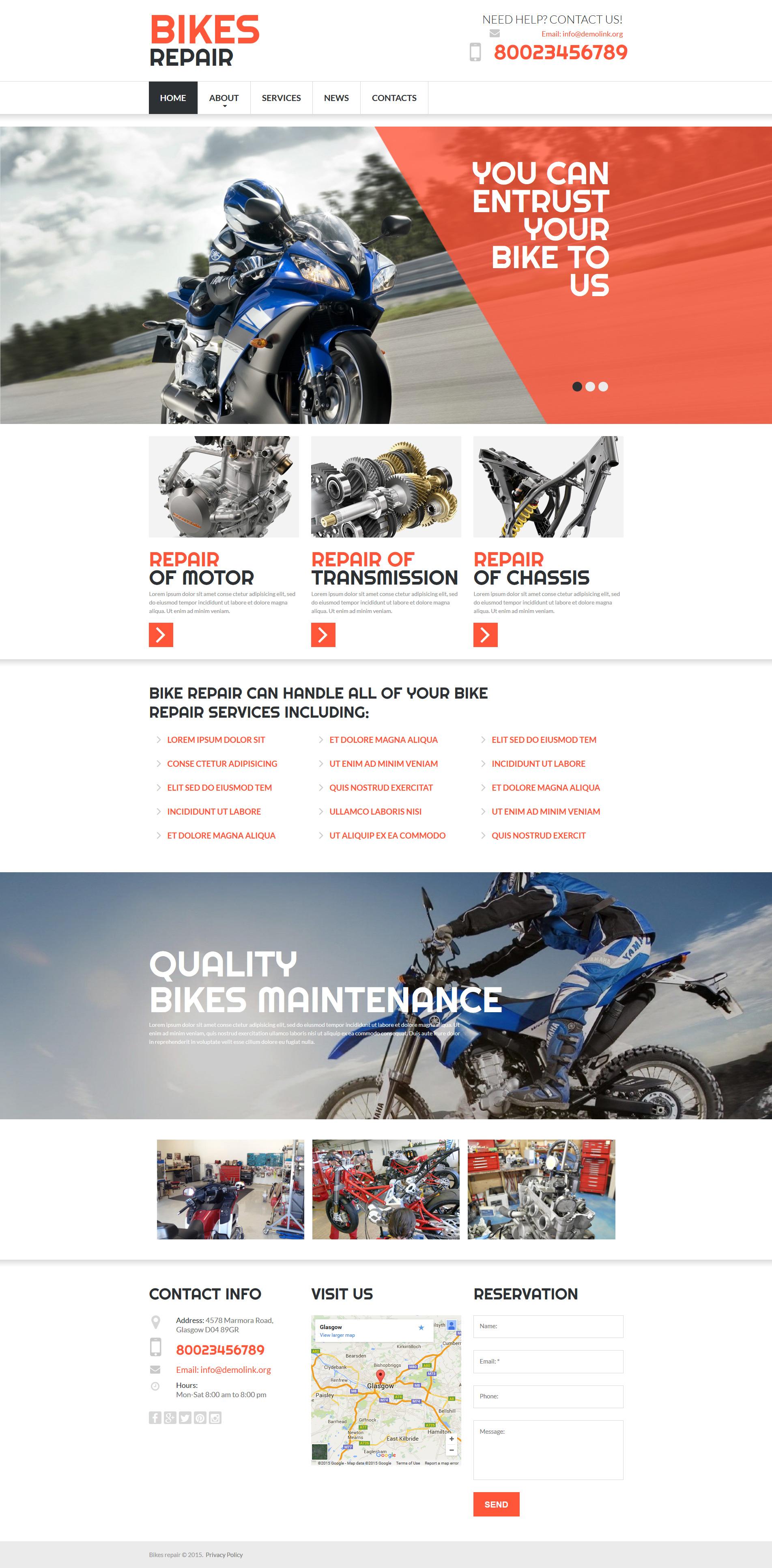 Modèle Moto CMS 3 adaptatif pour magasin de moto #53726