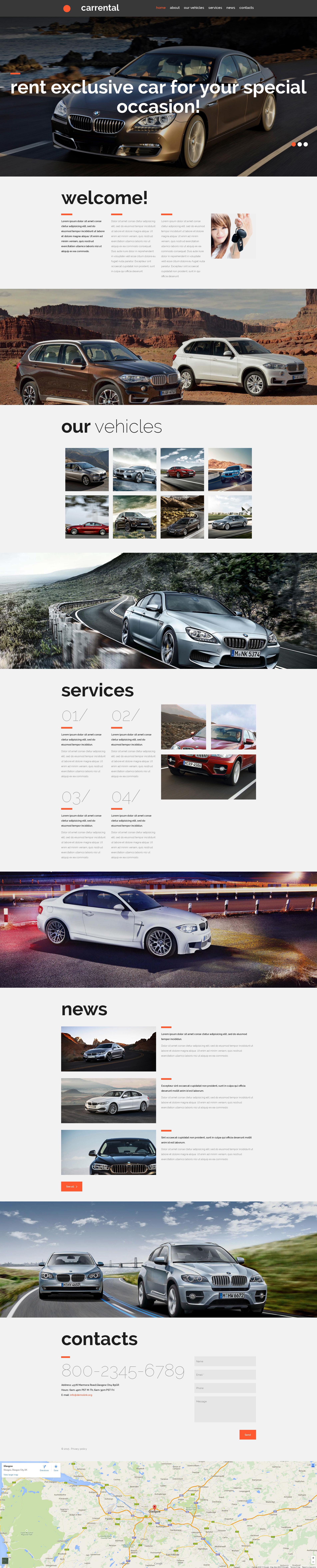 Modèle Moto CMS 3 adaptatif pour site de sociétés de location de voitures #53723