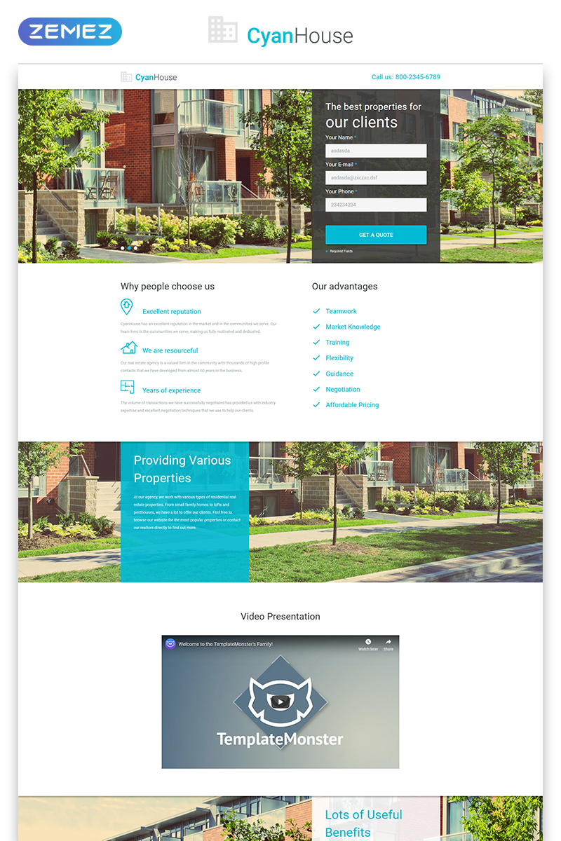 """Modello di Landing Page Responsive #53795 """"Cyan House - Real Estate Agency Classic HTML"""""""