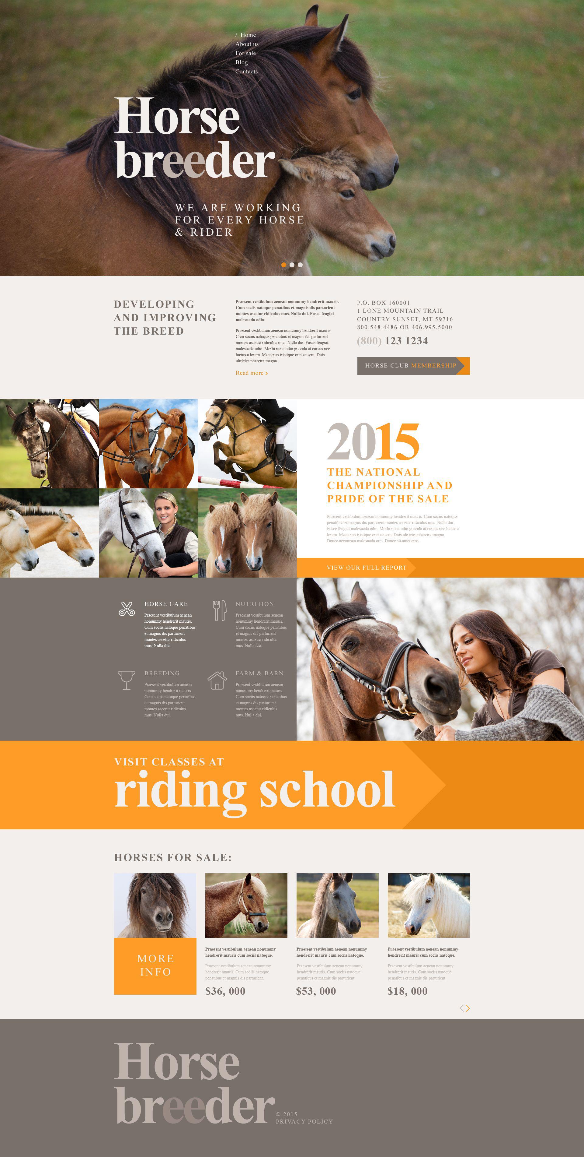 "Modello WordPress Responsive #53762 ""Horse Breeder"""
