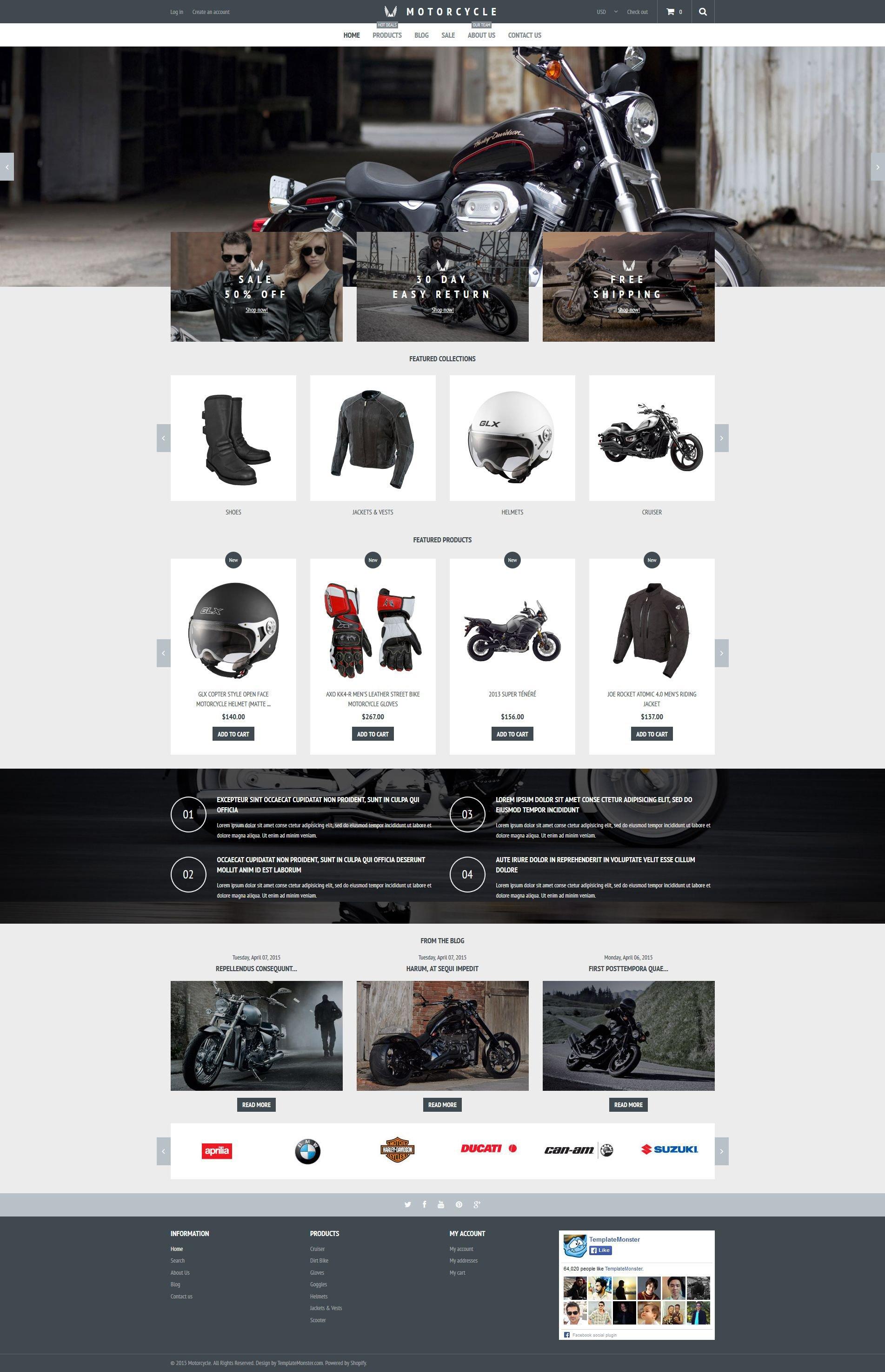 """Motorcycle Store"" - адаптивний Shopify шаблон №53768 - скріншот"