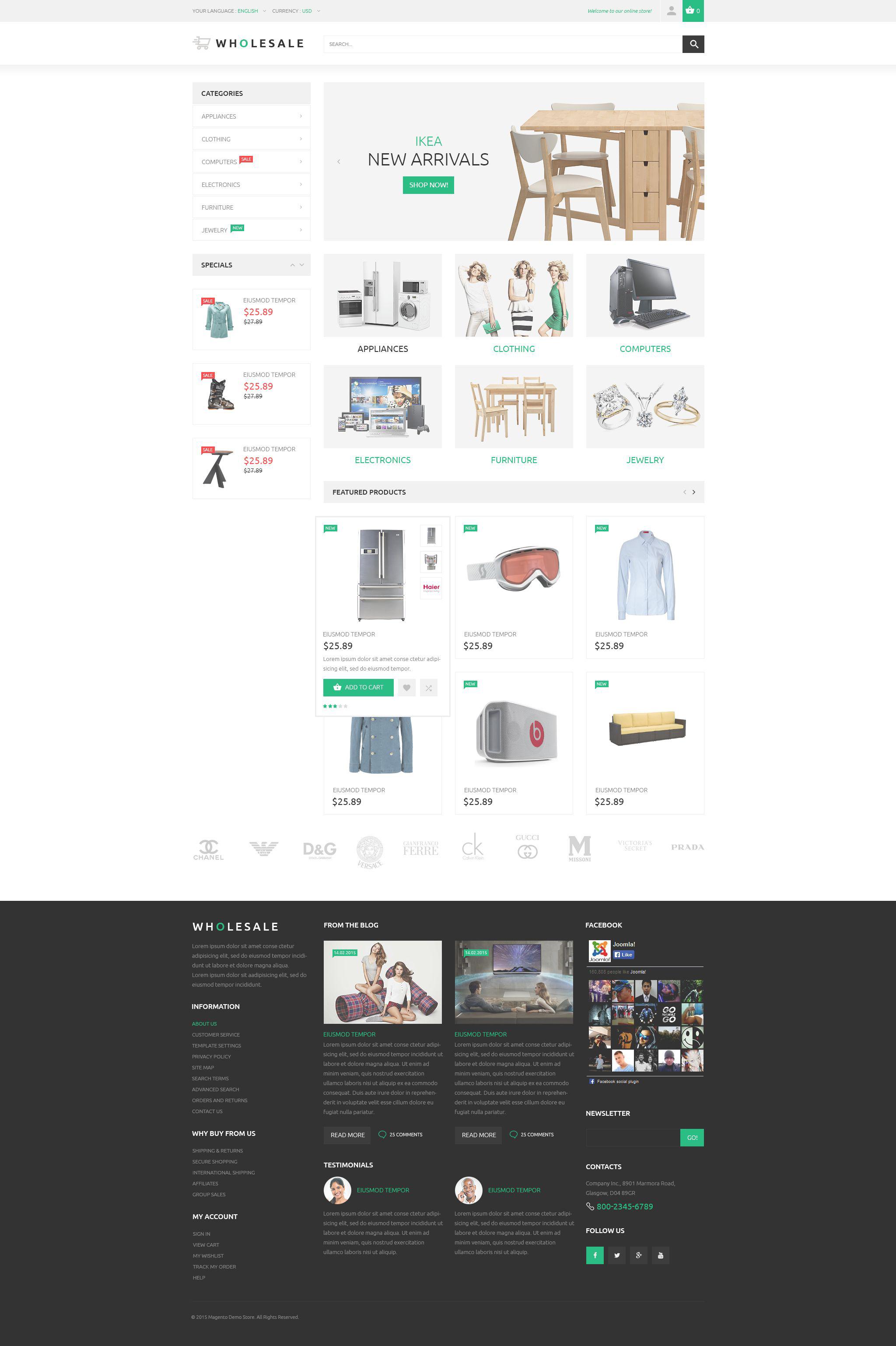 """Online Warehouse"" - адаптивний Magento шаблон №53792"