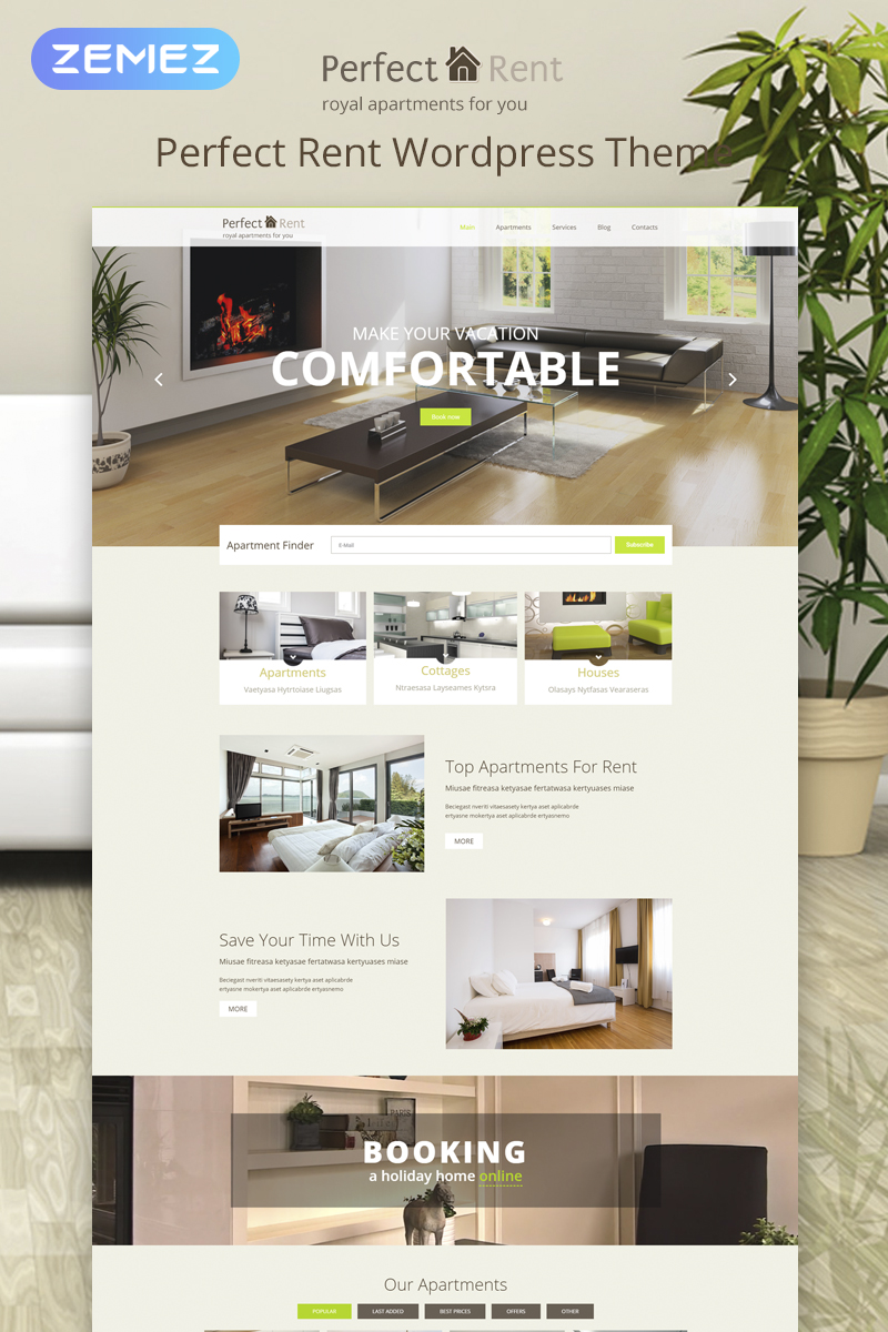 """Perfect Rent"" 响应式WordPress模板 #53763"