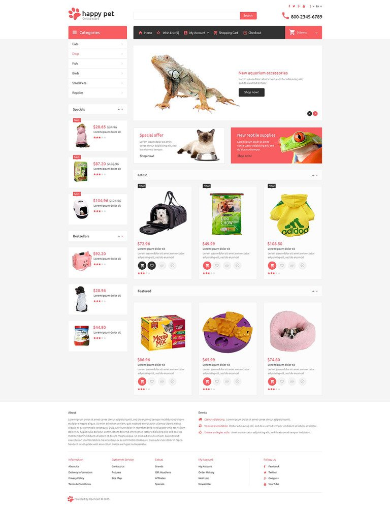 Pets OpenCart Template New Screenshots BIG
