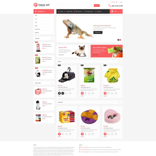 Happy Pet - OpenCart Template based on Bootstrap