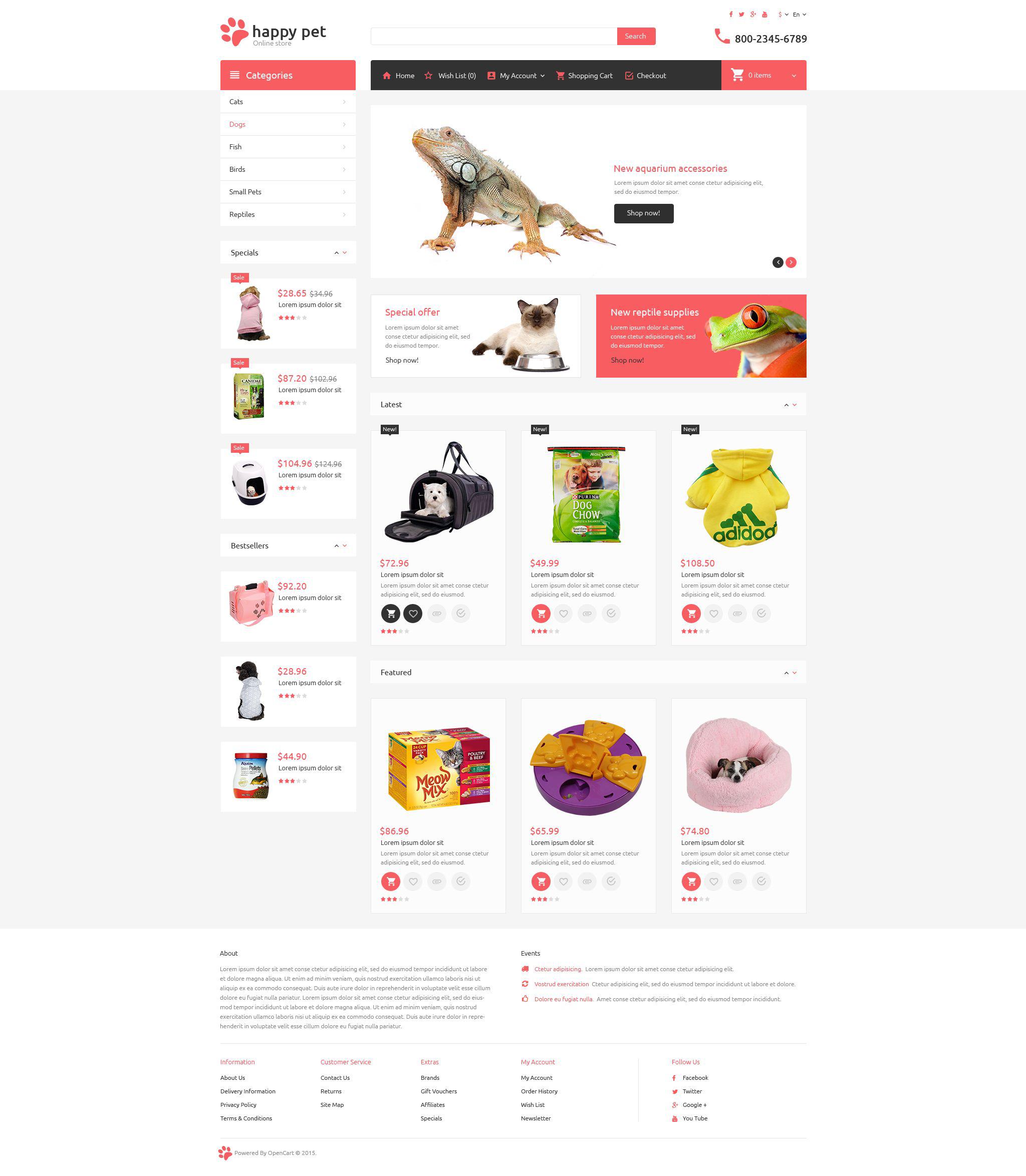 Pets Template OpenCart №53712