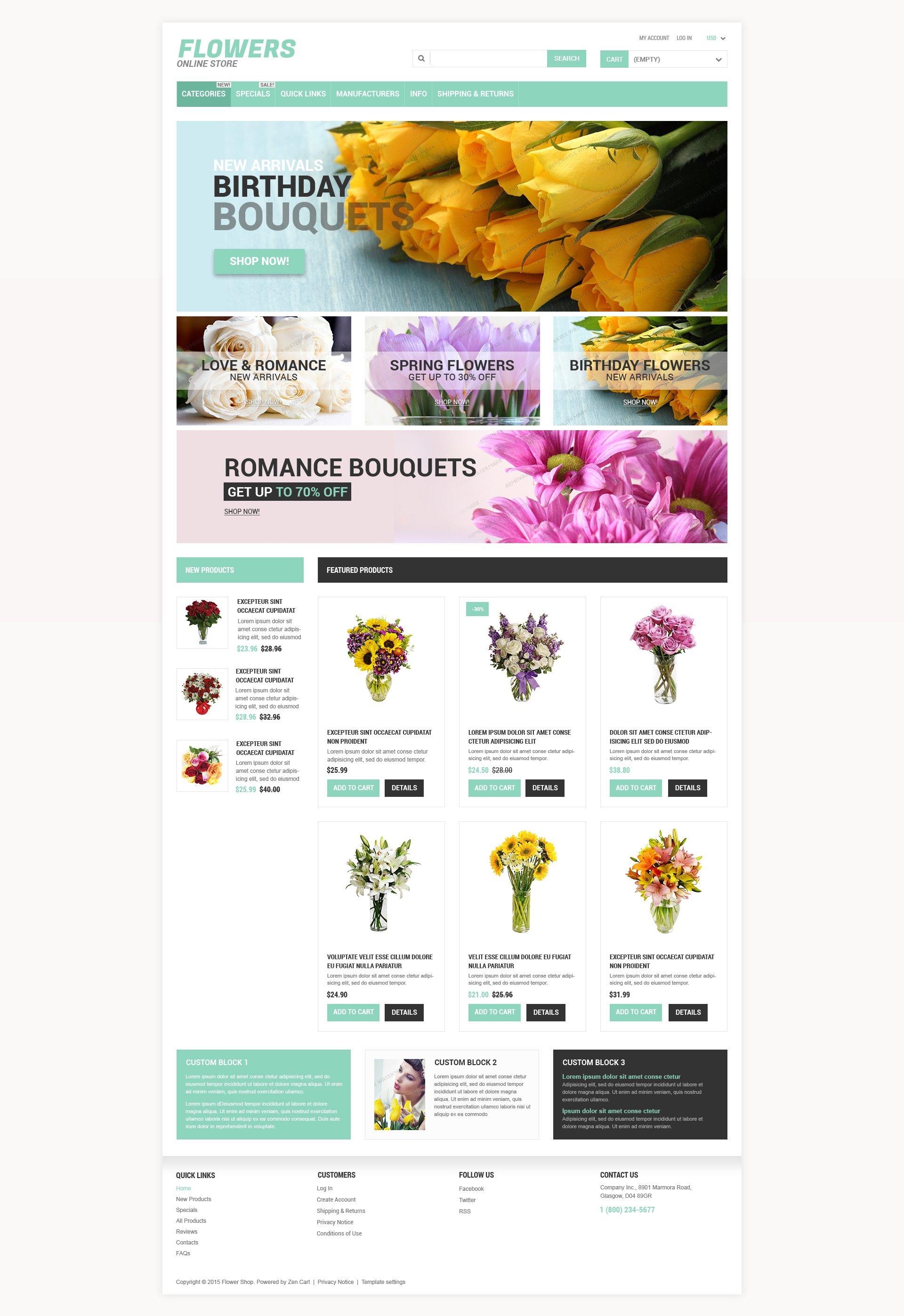 Plantilla ZenCart #53757 para Sitio de Tienda de Flores