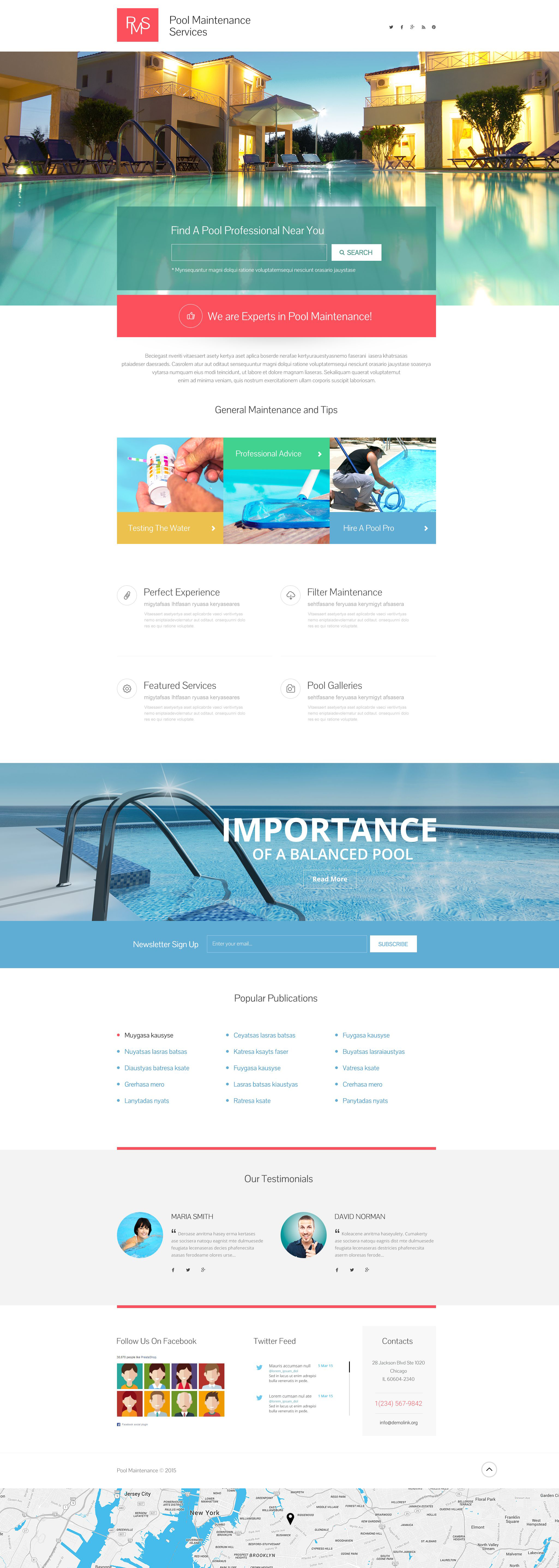Pool Cleaning Responsive Landing Page Template 53796