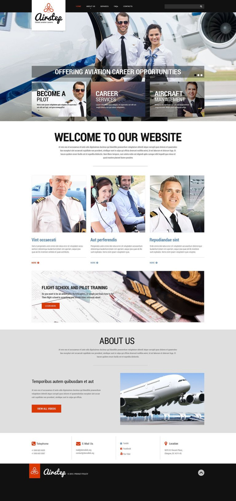 Private Airline Responsive Website Template New Screenshots BIG