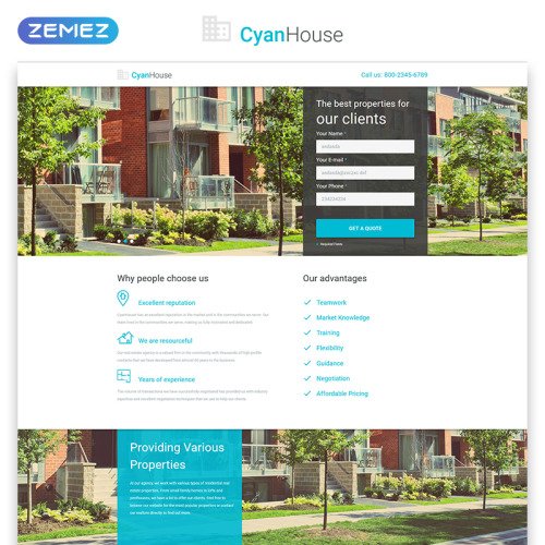 Cyan House - Responsive Landing Page Template