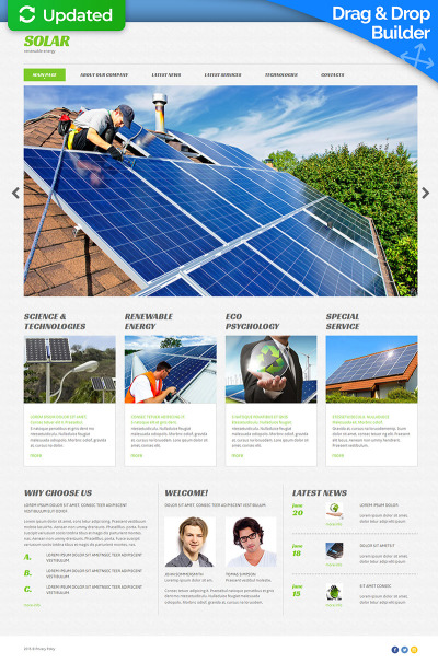 Responsives Moto CMS 3 Template für Solarenergie