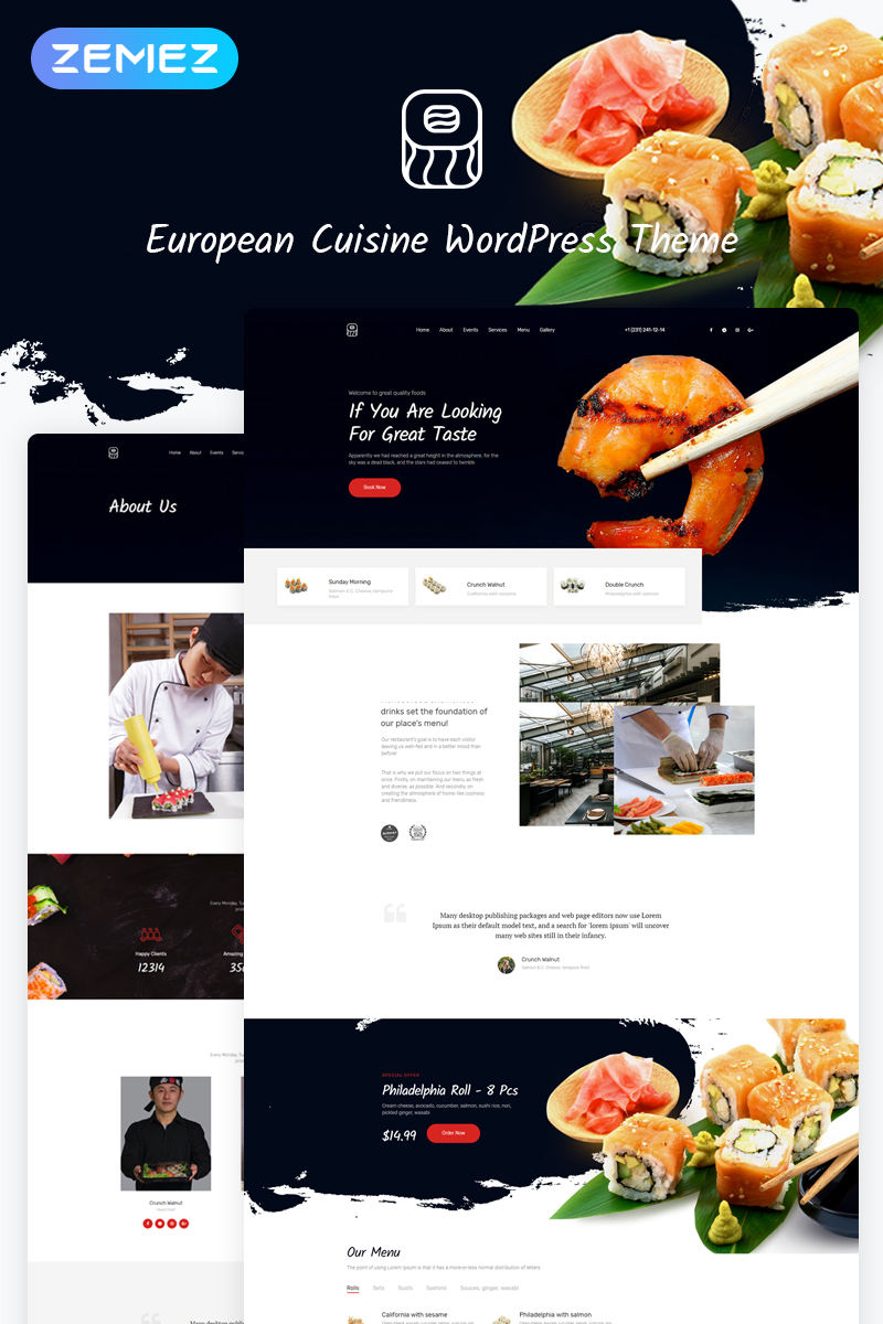 Responsivt European Cuisine WordPress-tema #53766