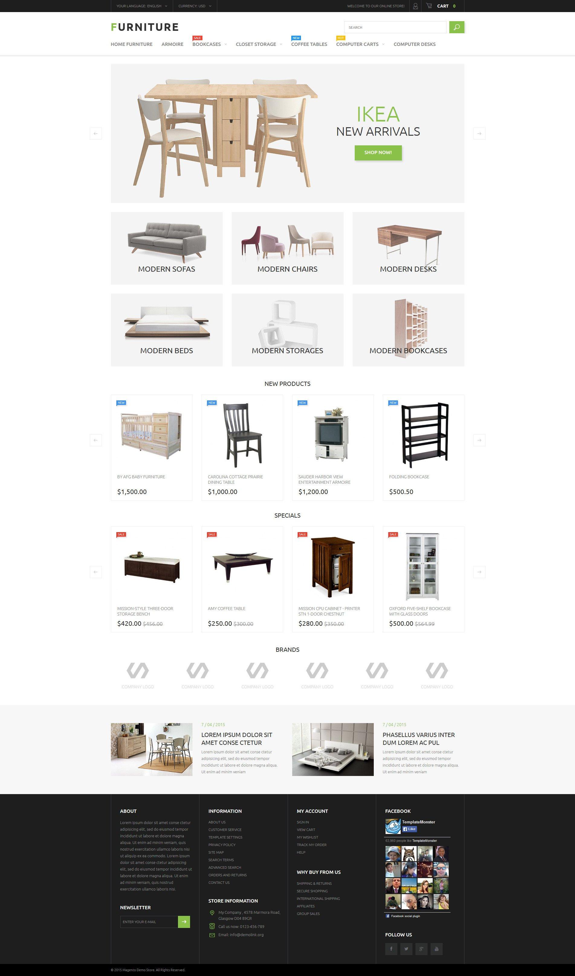 Responsivt Furniture Store Magento-tema #53791