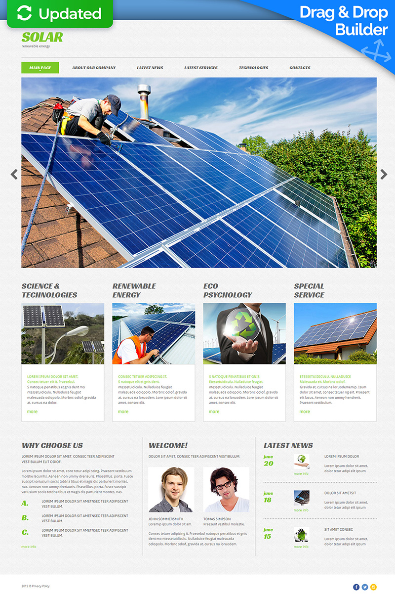 Responzivní Moto CMS 3 šablona na téma Sluneční energie #53742