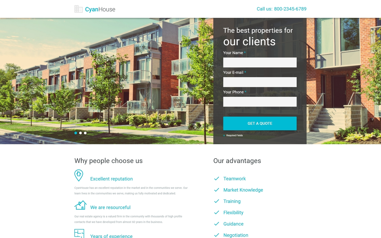 """Responzivní Šablona mikrostránek """"Cyan House - Real Estate Agency Classic HTML"""" #53795"""