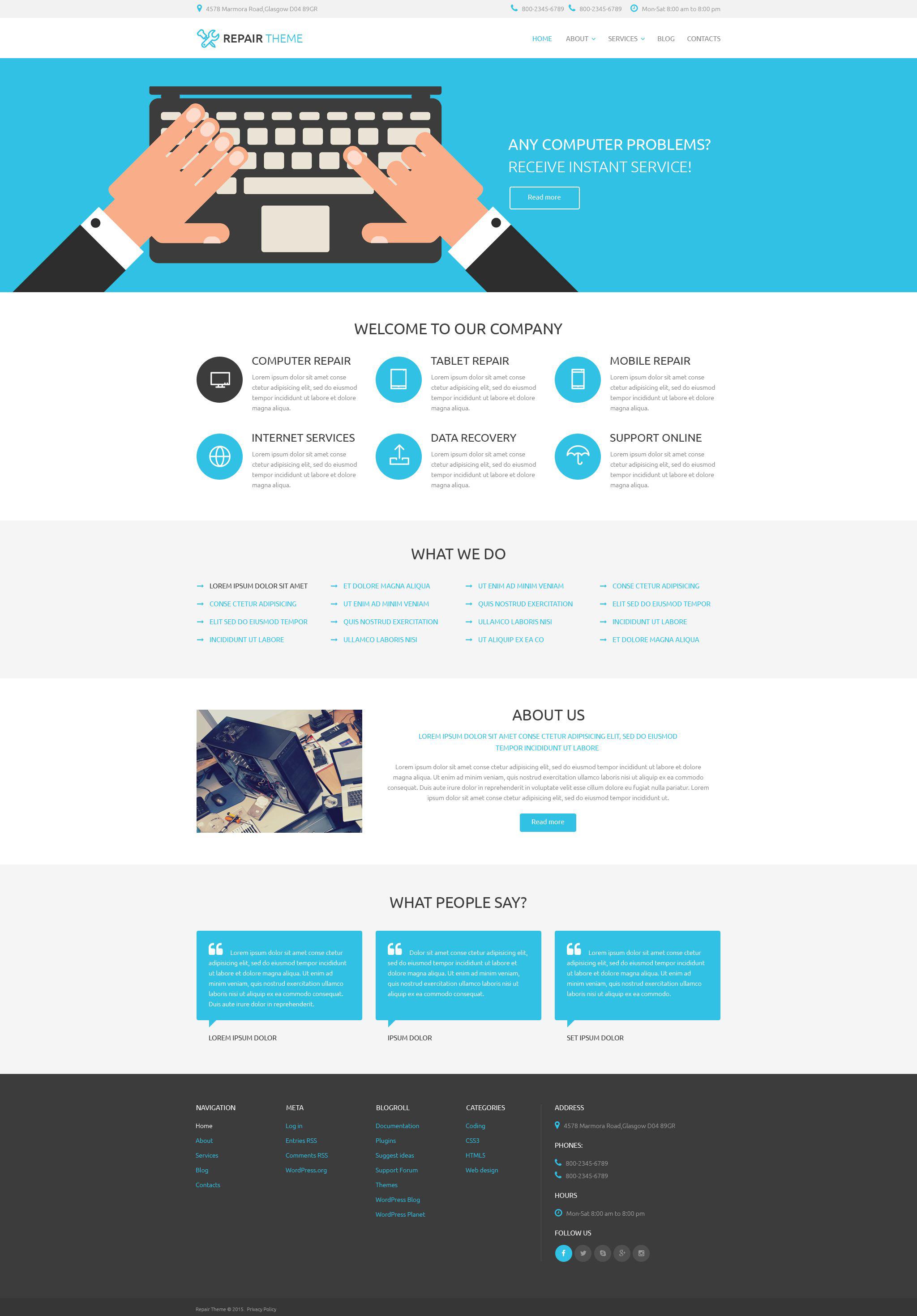 Reszponzív Electronics Fixing Services WordPress sablon 53761 - képernyőkép
