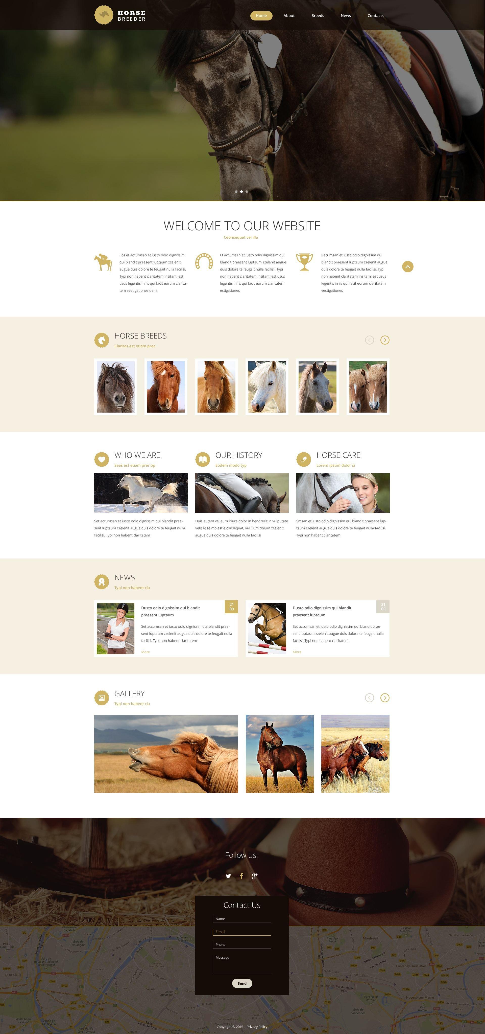 Reszponzív Horse Breeder Weboldal sablon 53786