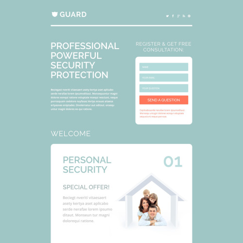 Guard - Responsive Landing Page Template