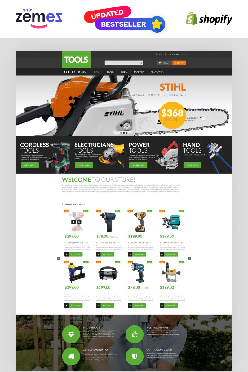 "Shopify Theme namens ""Tools  Equipment"" #53770"