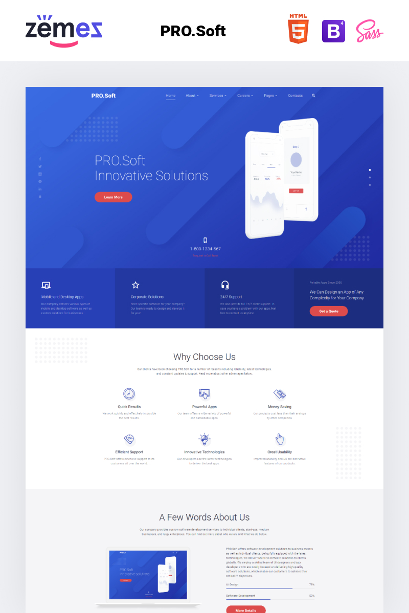 Software Company Responsive Website Template #53711