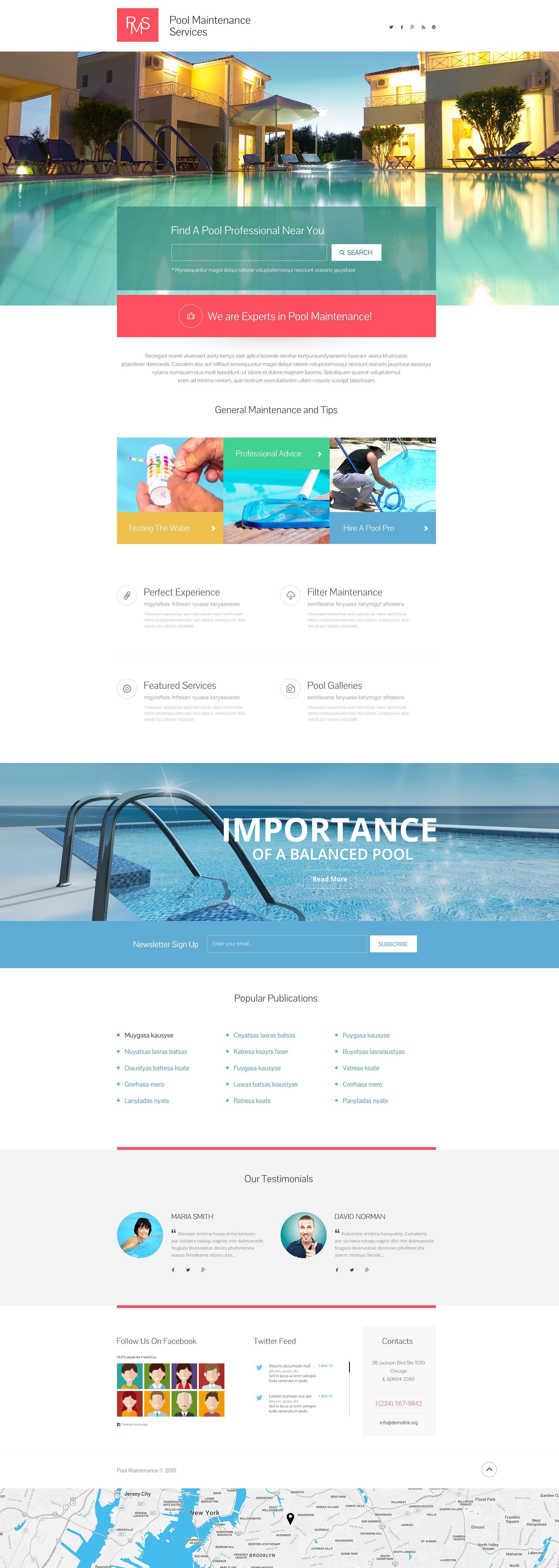 Swimming Pool Responsive Landing Page Template