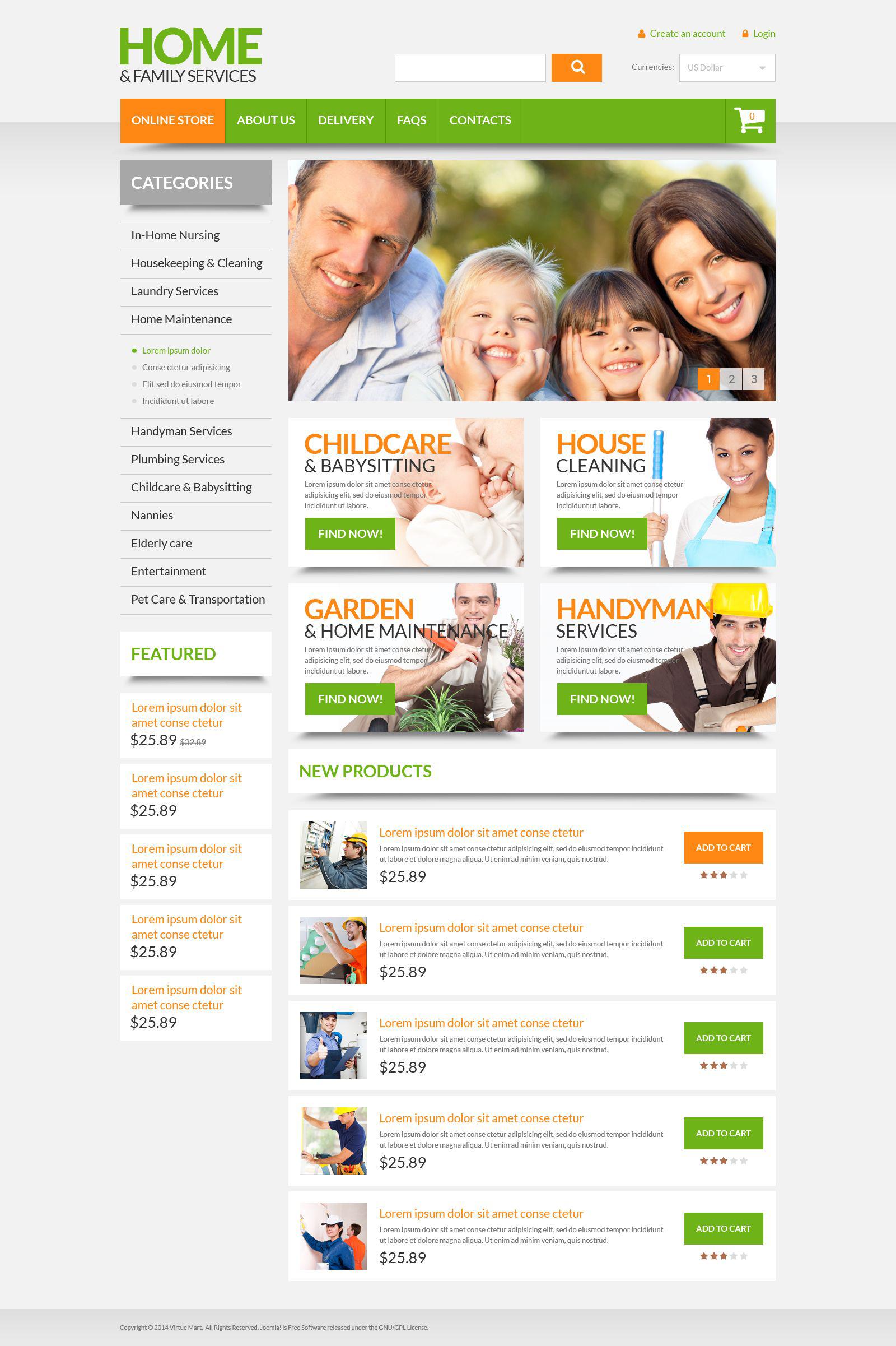 Szablon VirtueMart Home  Family Services #53719