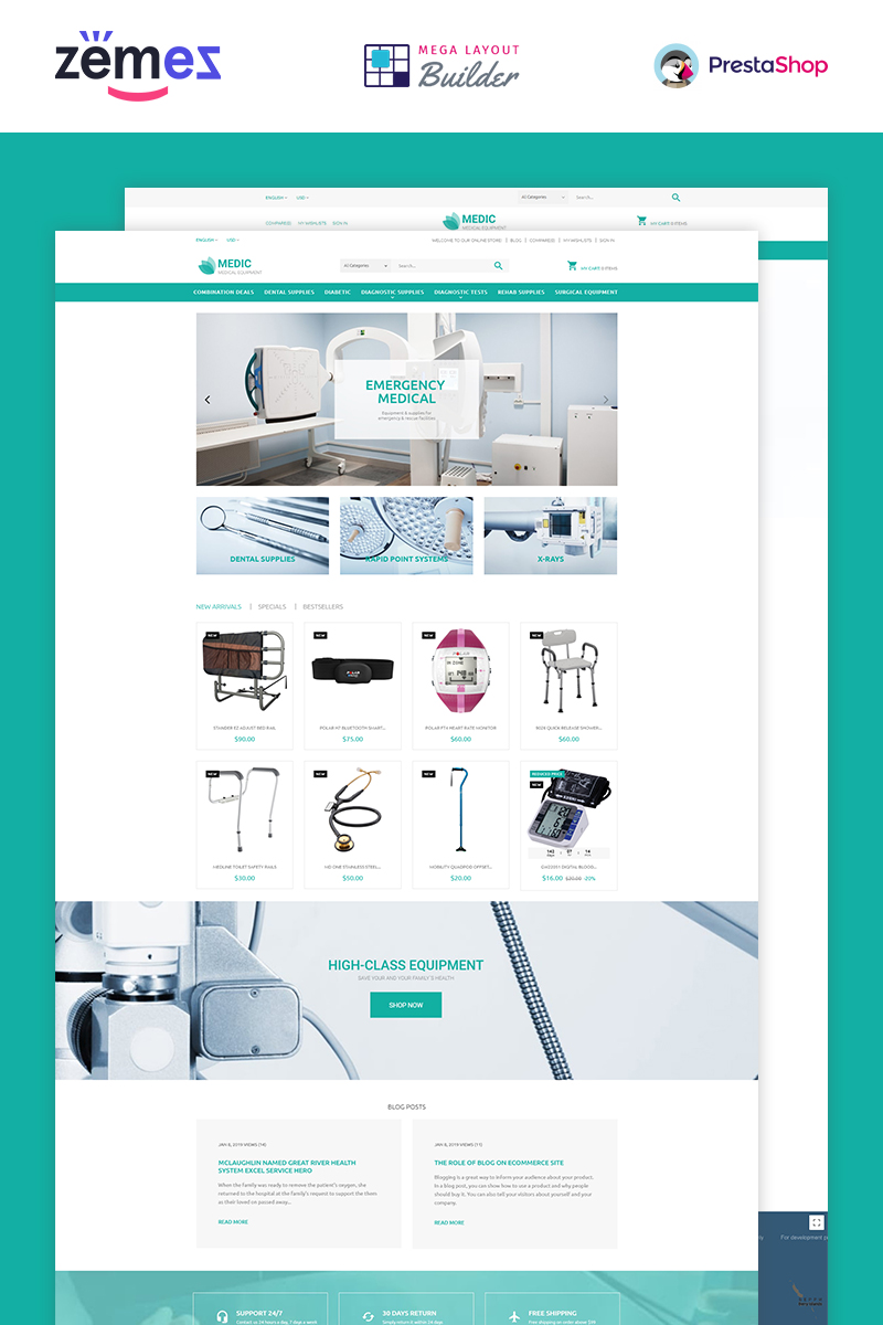 "Tema PrestaShop Responsive #53790 ""Medical Equipment"""