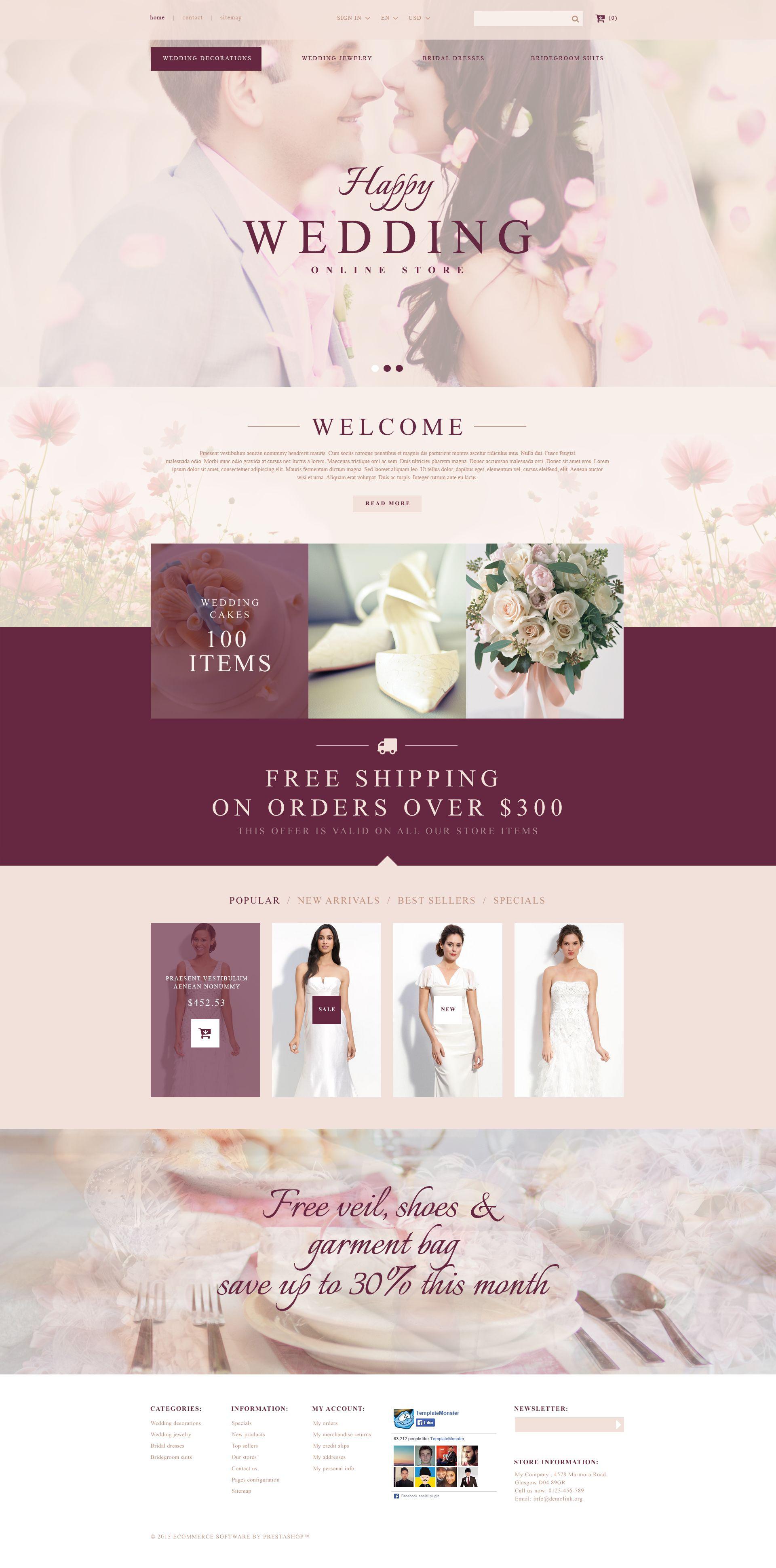 """Wedding Store"" Responsive PrestaShop Thema №53721"