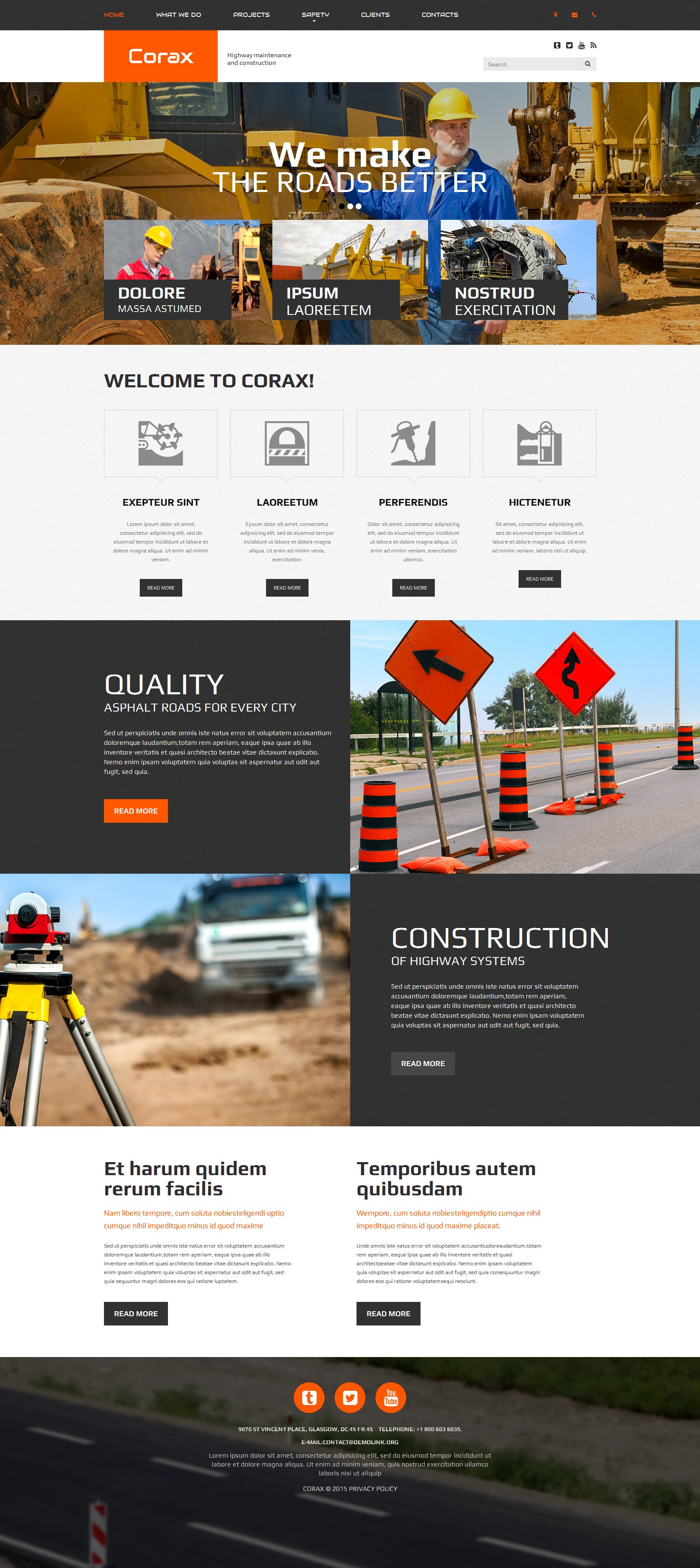 The Corax Highway Road Responsive Javascript Animated Design 53844, one of the best website templates of its kind (architecture, most popular), also known as Corax highway road website template, construction website template, repair website template, asphalt website template, paving website template, business website template, road website template, highway website template, pave website template, contractor website template, bitumen website template, services website template, projects website template, employment website template, way and related with Corax highway road, construction, repair, asphalt, paving, business, road, highway, pave, contractor, bitumen, services, projects, employment, way, etc.
