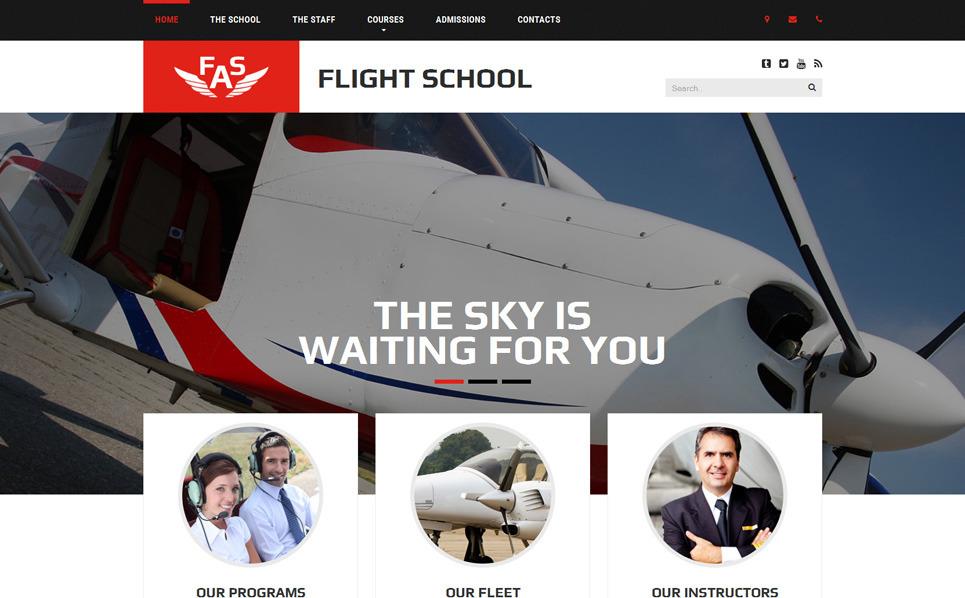 Responsive Website template over Vliegschool  New Screenshots BIG