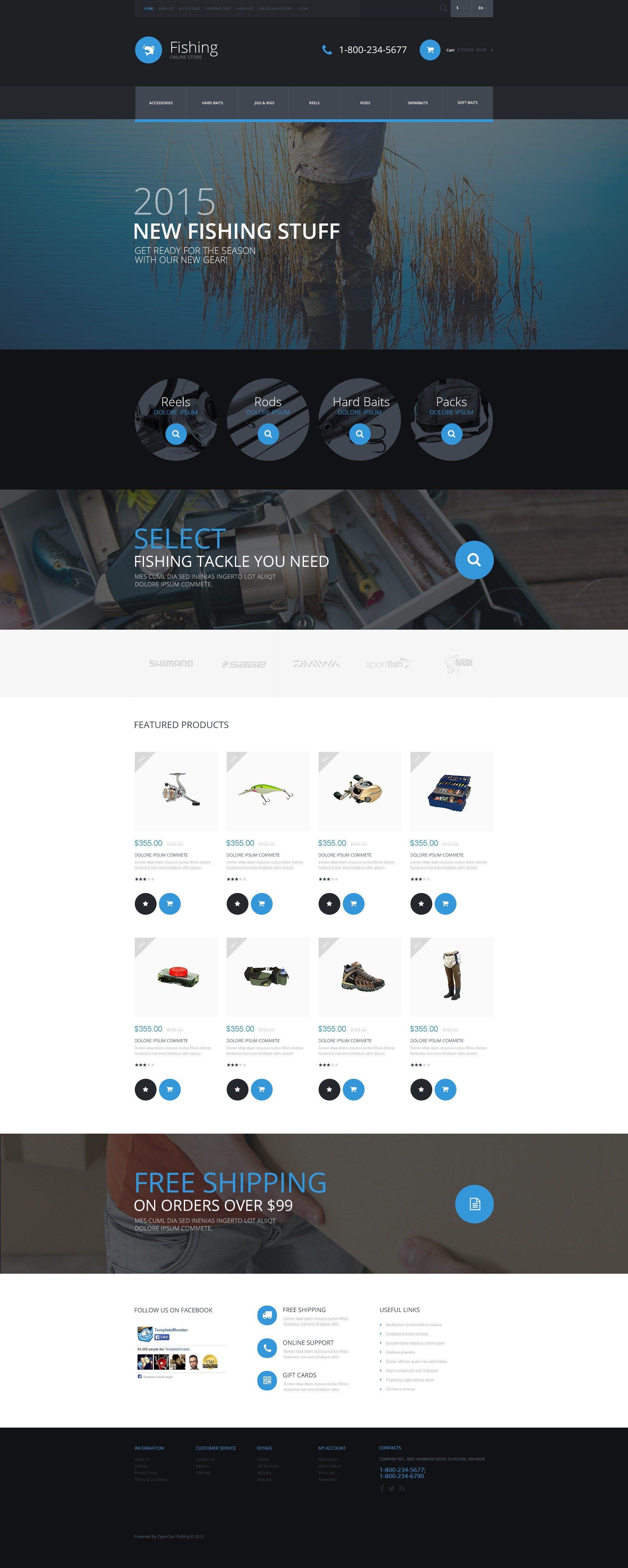 The Fishing Store OpenCart Design 53849, one of the best OpenCart templates of its kind (sport, most popular), also known as fishing store OpenCart template, site OpenCart template, fisherman OpenCart template, boat OpenCart template, rods OpenCart template, reels OpenCart template, baits OpenCart template, swimbaits OpenCart template, jigs OpenCart template, rogs OpenCart template, tools OpenCart template, spinning OpenCart template, fishing OpenCart template, line and related with fishing store, site, fisherman, boat, rods, reels, baits, swimbaits, jigs, rogs, tools, spinning, fishing, line, etc.