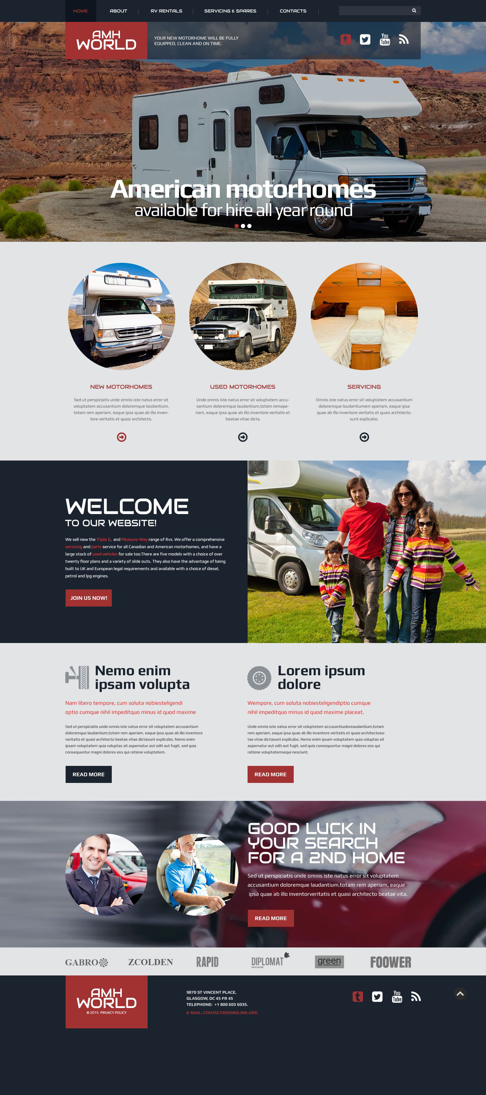 The Amh World Bootstrap Design 53850, one of the best website templates of its kind (travel, most popular), also known as amh world website template, motorhomes website template, extras website template, services website template, travel website template, cars website template, rental website template, comfort website template, camping website template, trip and related with amh world, motorhomes, extras, services, travel, cars, rental, comfort, camping, trip, etc.