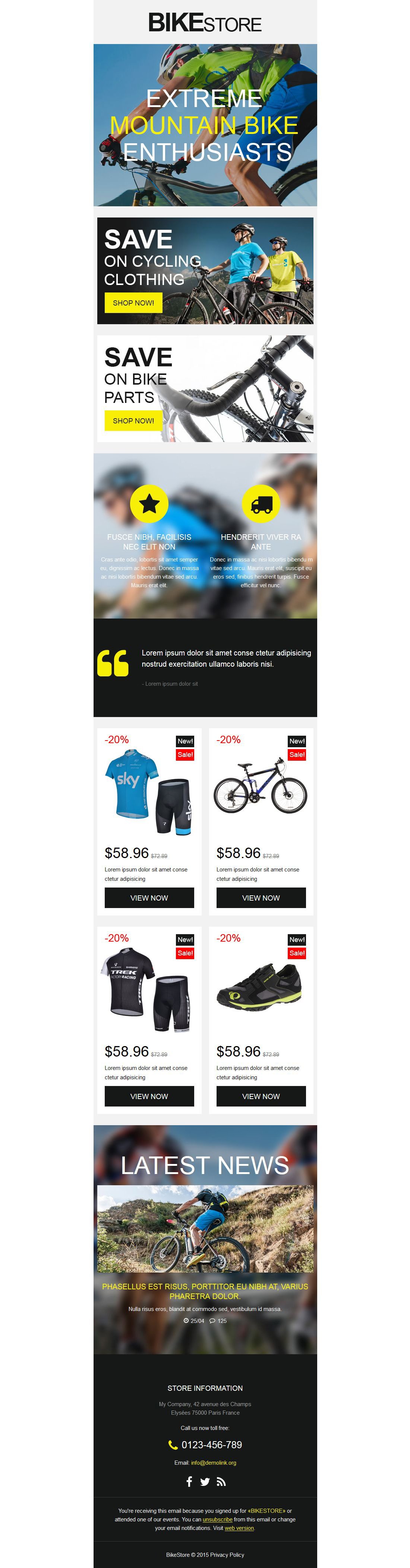 The Bike Store Newsletter Template Design 53851, one of the best Newsletter templates of its kind (sport, most popular), also known as bike store Newsletter template, bikes Newsletter template, moto Newsletter template, motor store Newsletter template, helmets Newsletter template, gear Newsletter template, scooter Newsletter template, snowmobile Newsletter template, parts Newsletter template, accessories Newsletter template, tires Newsletter template, closeouts and related with bike store, bikes, moto, motor store, helmets, gear, scooter, snowmobile, parts, accessories, tires, closeouts, etc.