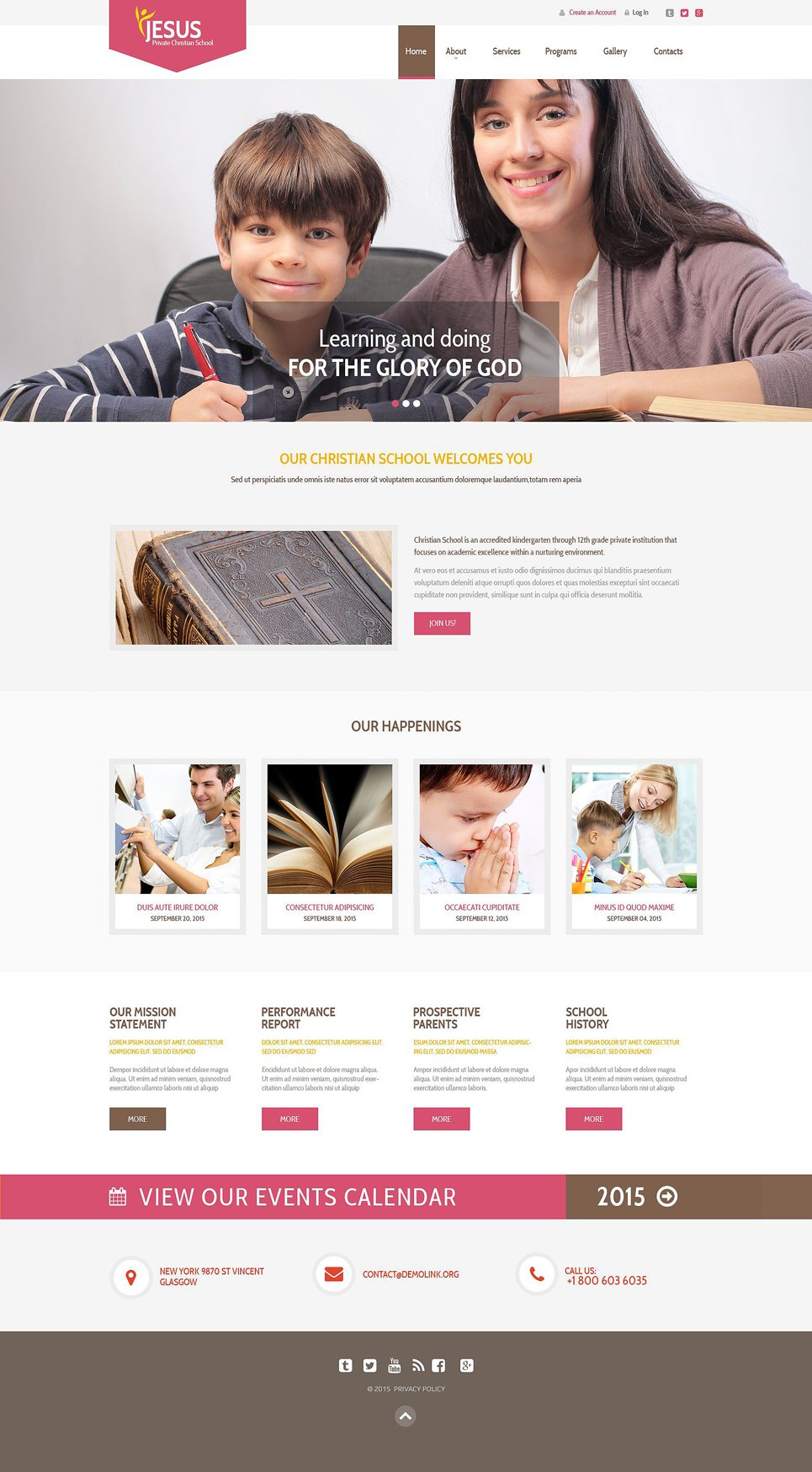 Private Christian School template illustration image