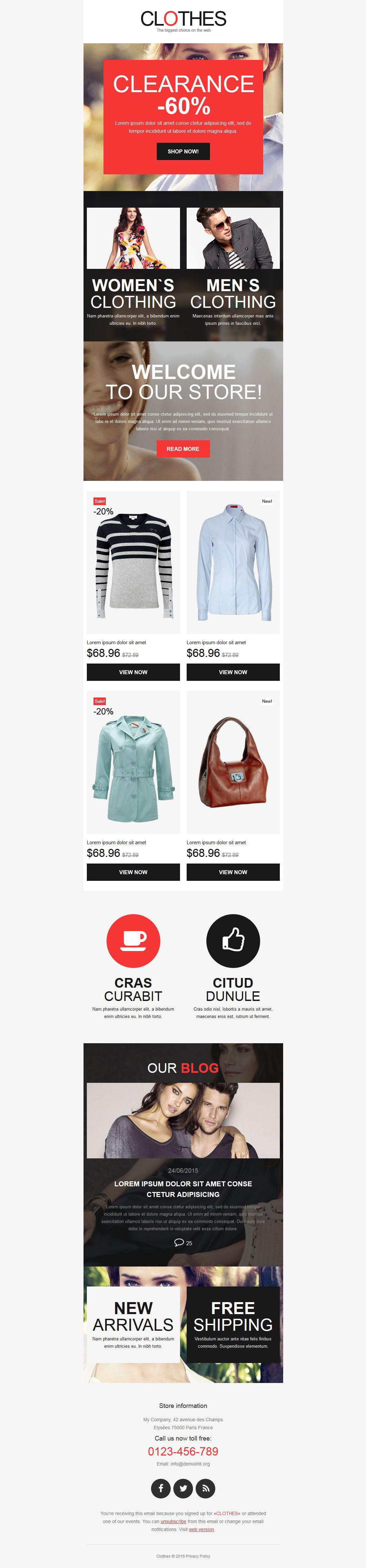 Адаптивный Шаблон рассылки №53852 на тему магазин одежды