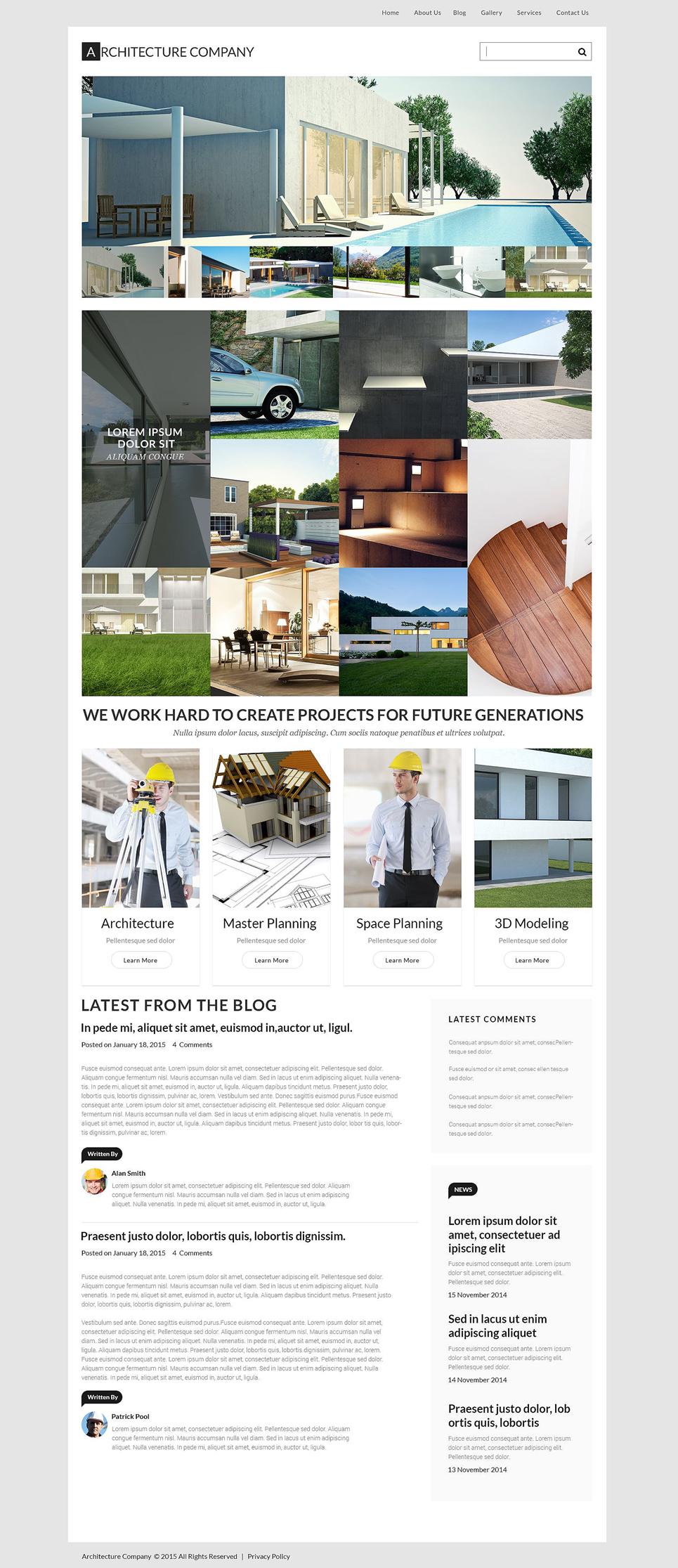 Адаптивный шаблон сайта на тему архитектура #53880