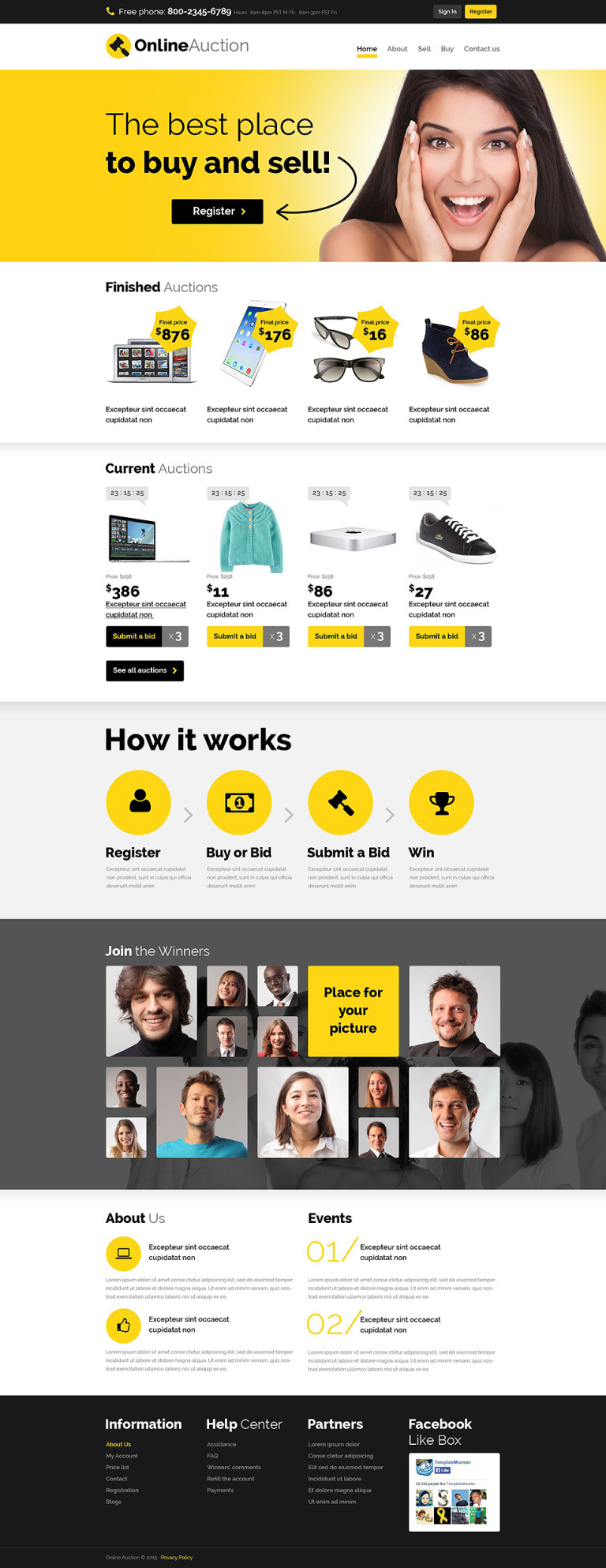 Auction Responsive Website Template New Screenshots BIG