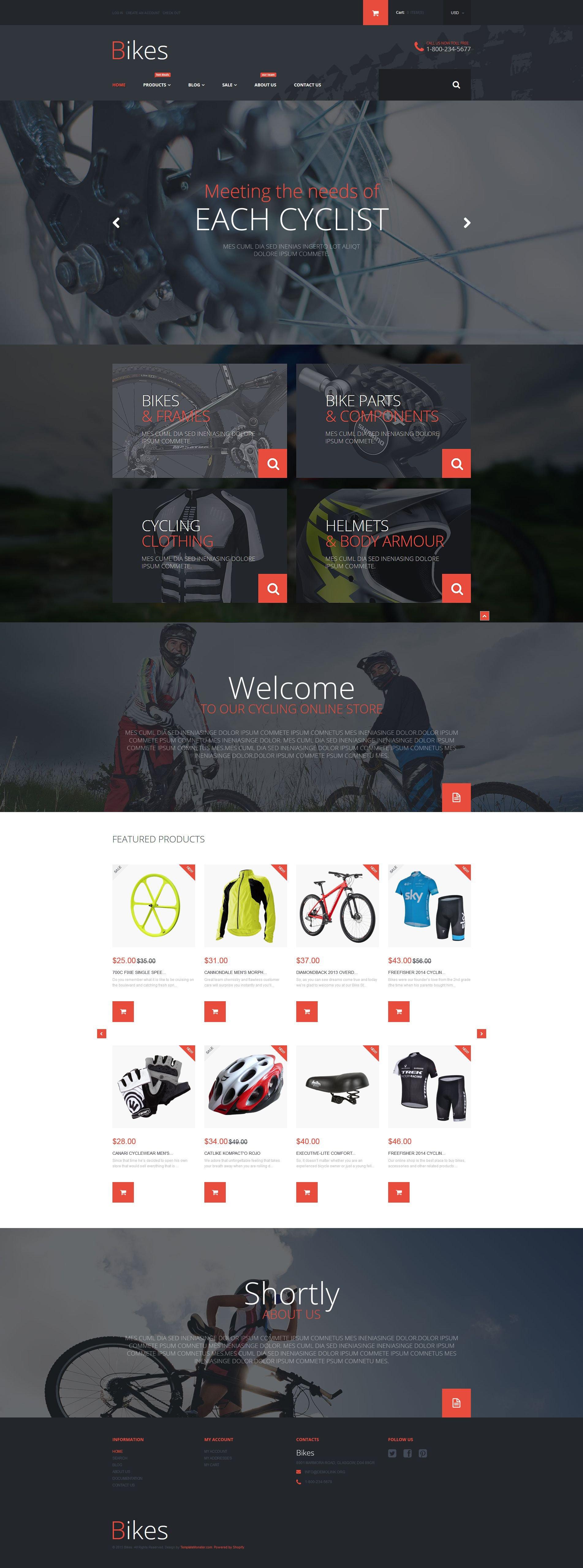 """Bike Store"" 响应式Shopify模板 #53835"