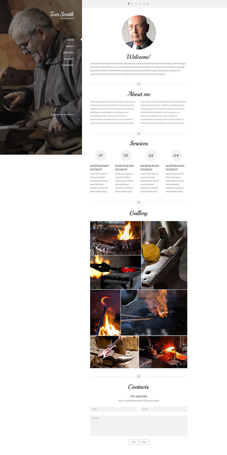 Blacksmith's Services Website Template New Screenshots BIG