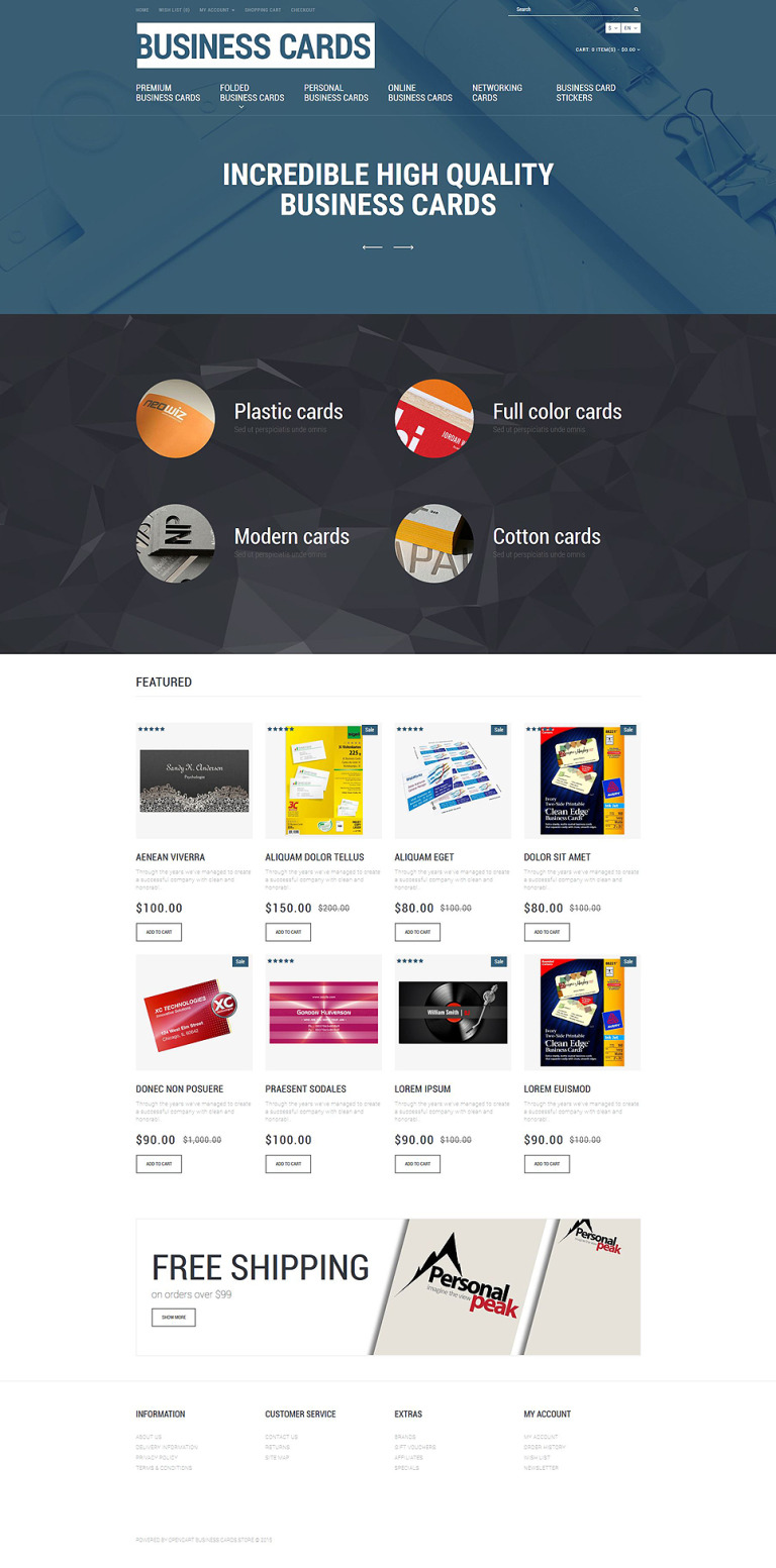 Business Cards Store OpenCart Template New Screenshots BIG