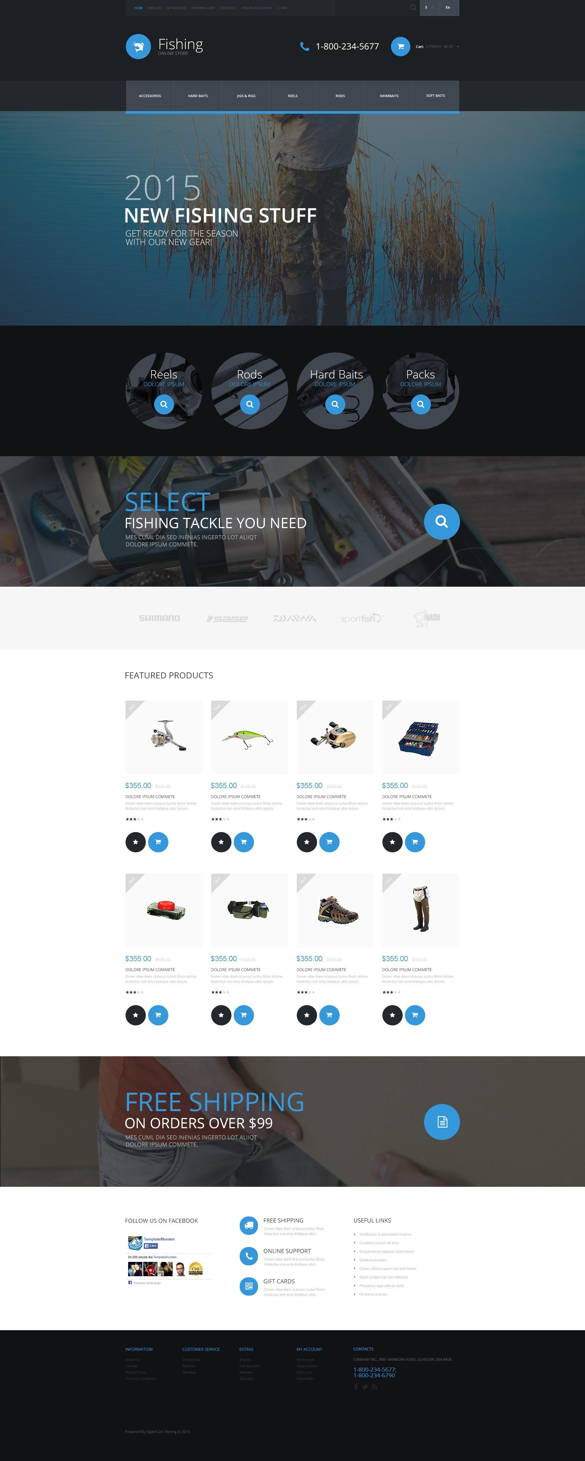 Fishing Equipment Store Template OpenCart №53849 - captura de tela