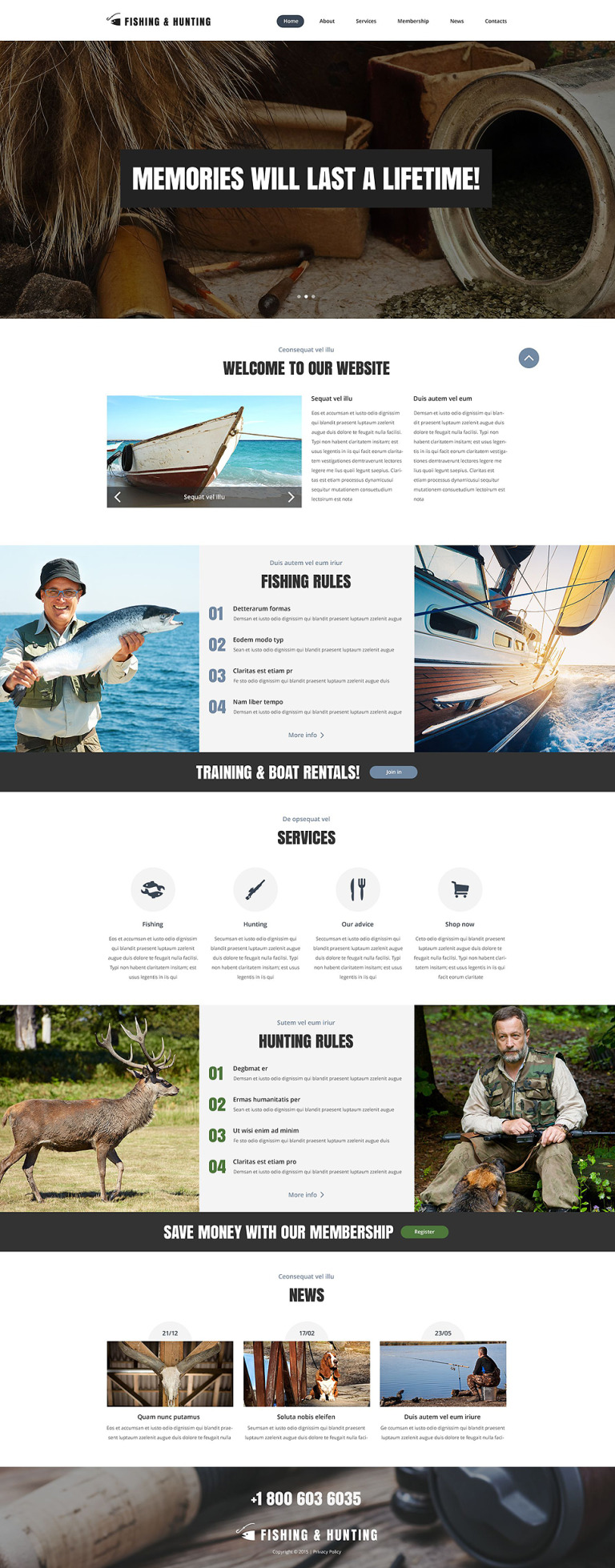 Fishing Hunting Blog Website Template New Screenshots BIG