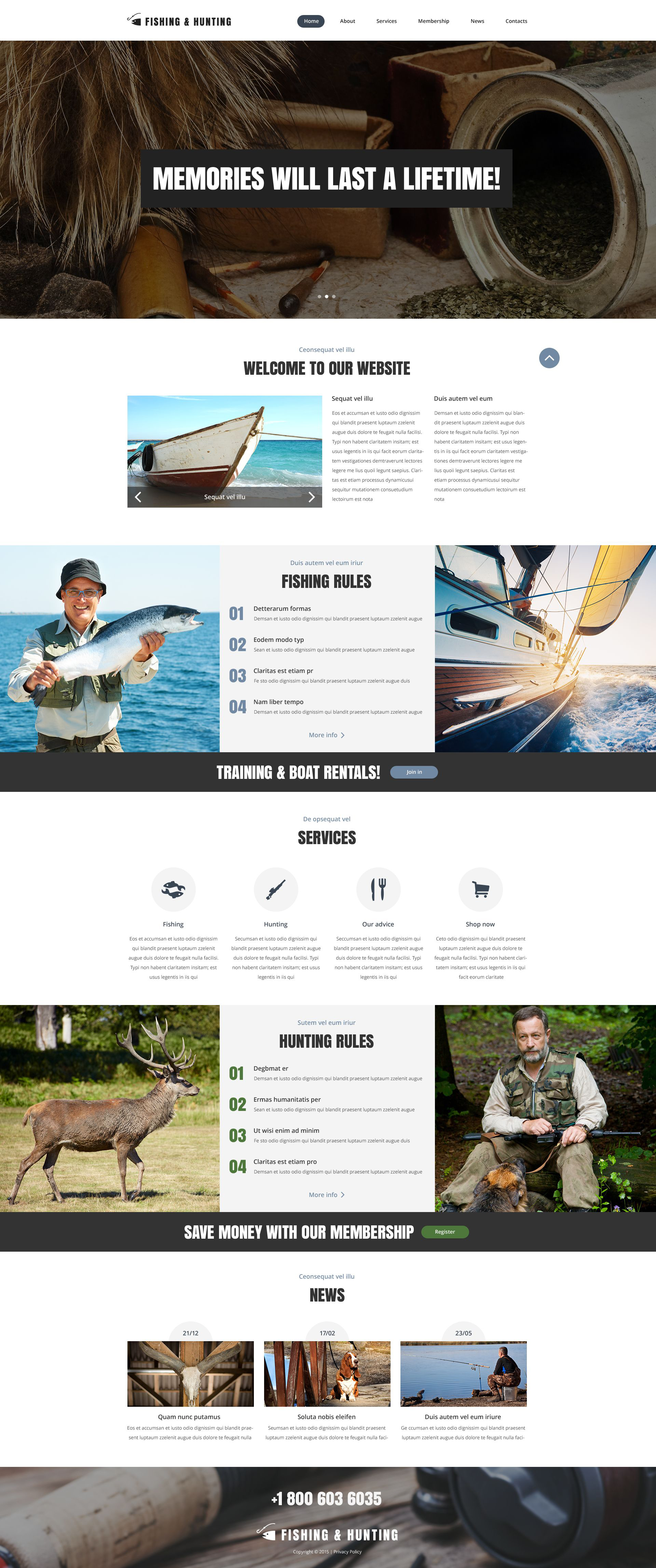 Fishing and Hunting Web Template