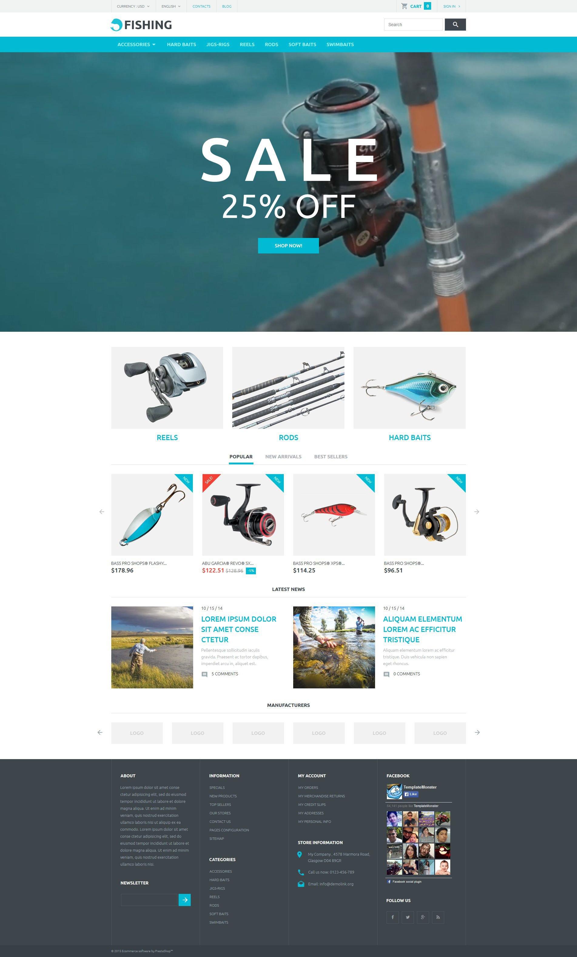 Fishing Store Tema PrestaShop №53815