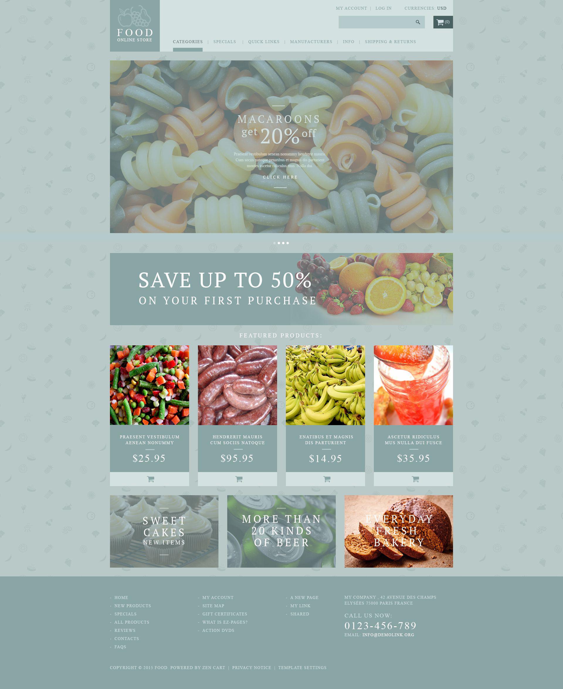 """Food Shop"" Responsive ZenCart template №53886"