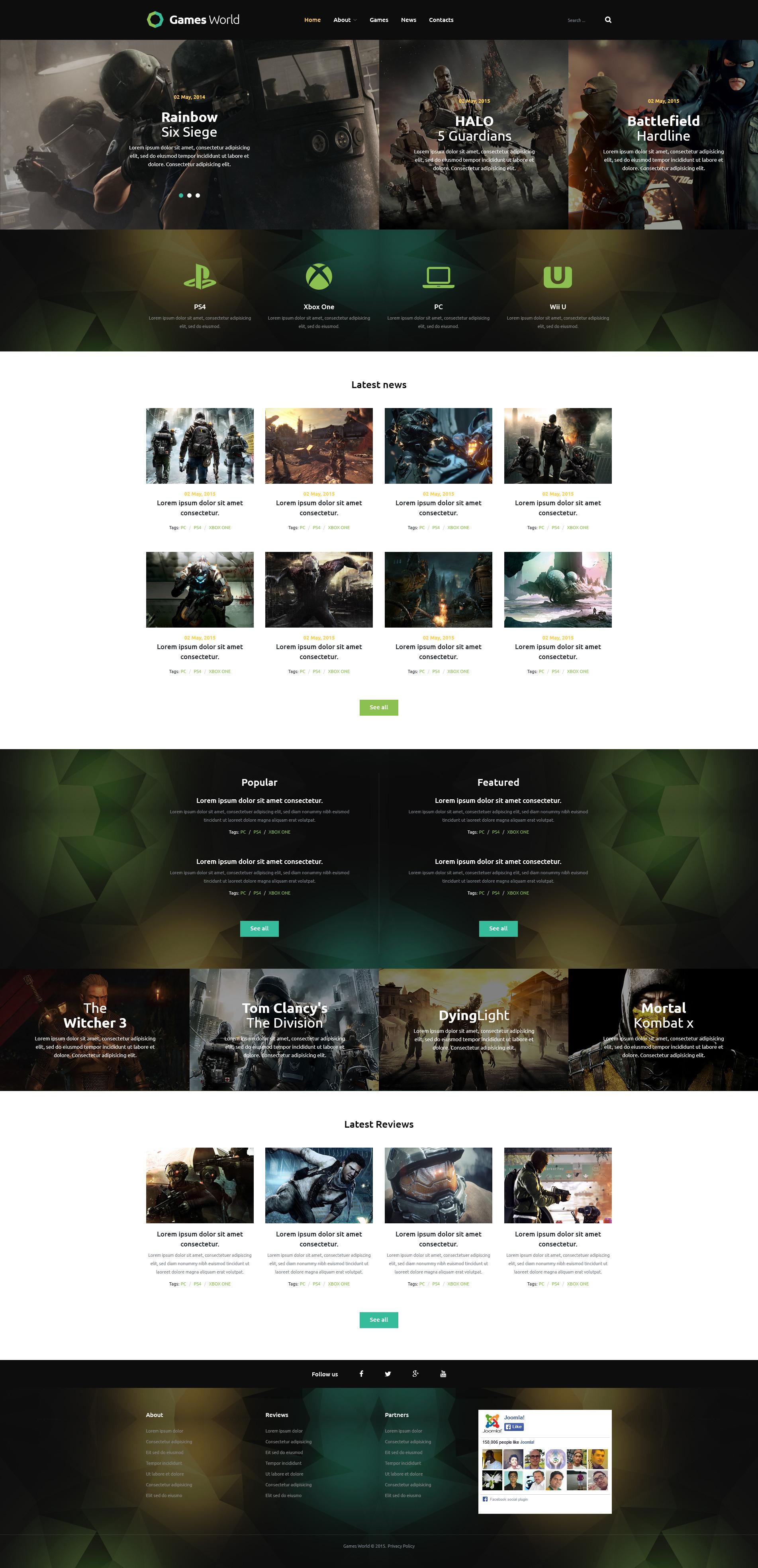 """""""Game Portal"""" thème Joomla adaptatif #53859 - screenshot"""