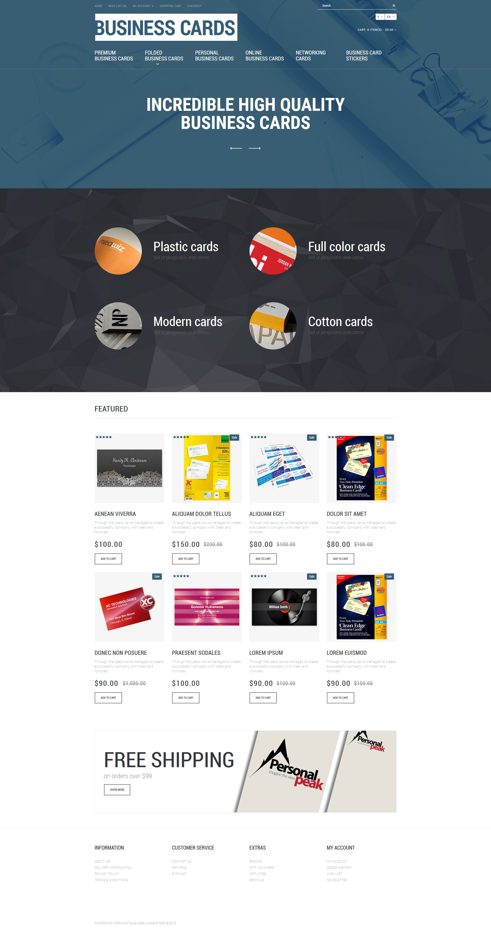 Magasin De Cartes Visite Theme OpenCart Adaptatif