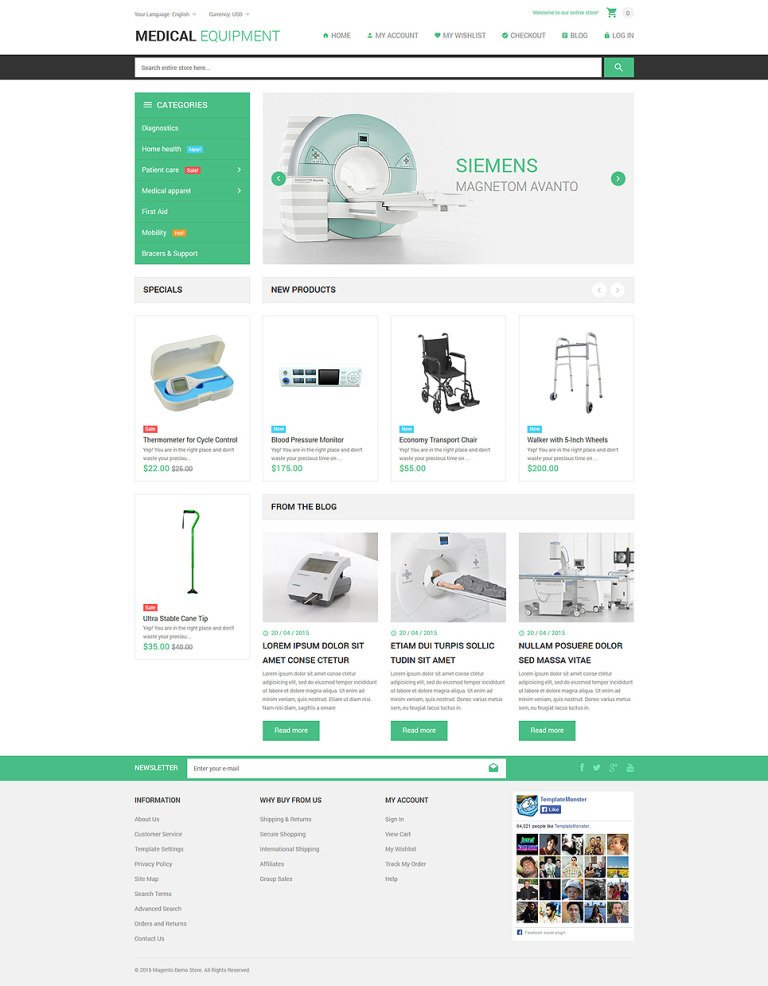 Medical Stuff Store Magento Theme New Screenshots BIG