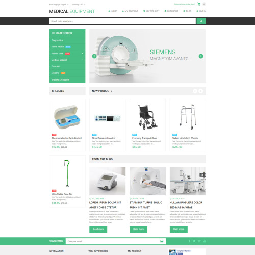 Medical Equipment - Magento Template based on Bootstrap